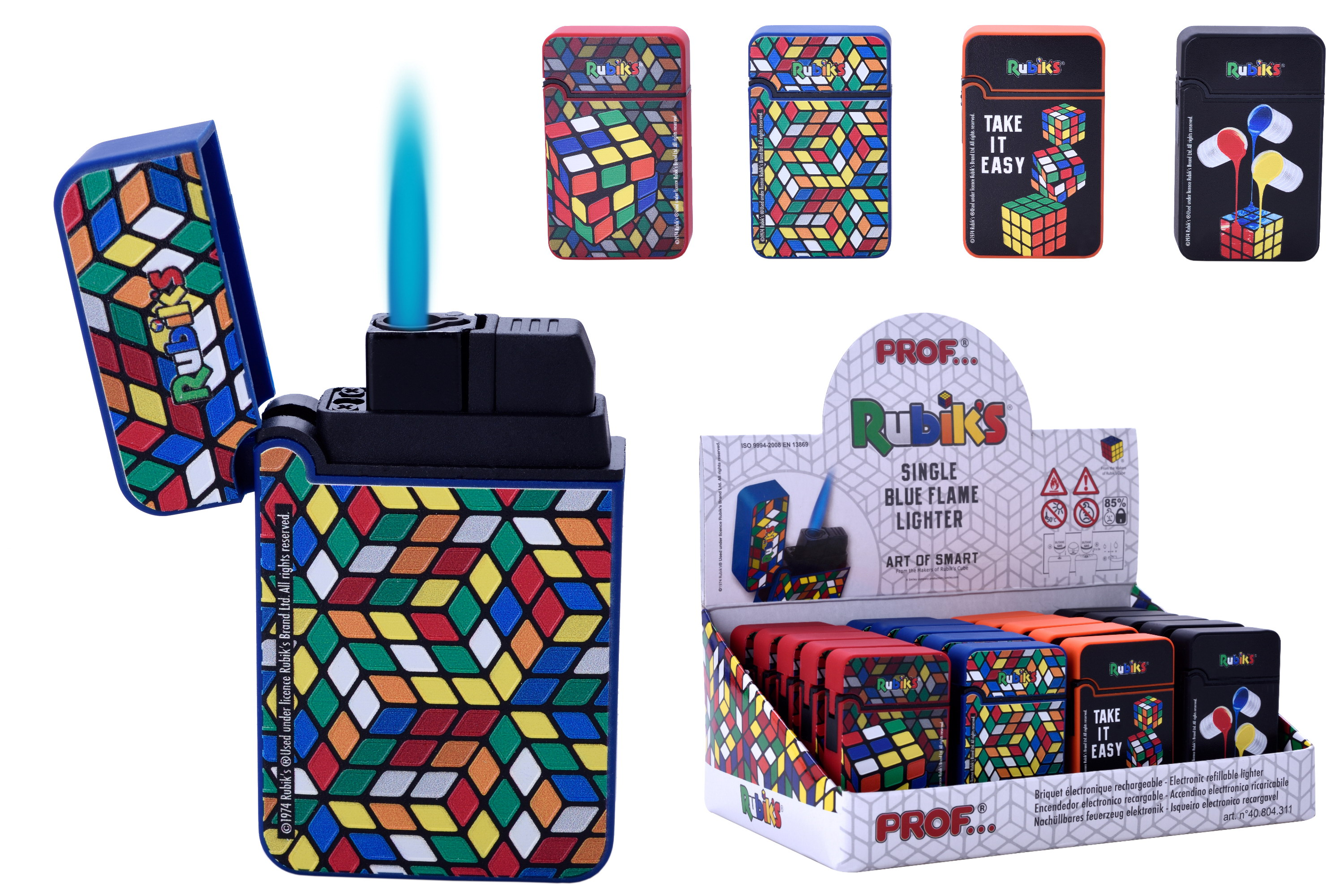 Rubik's Lighter Windproof Blue Flame In Display Box