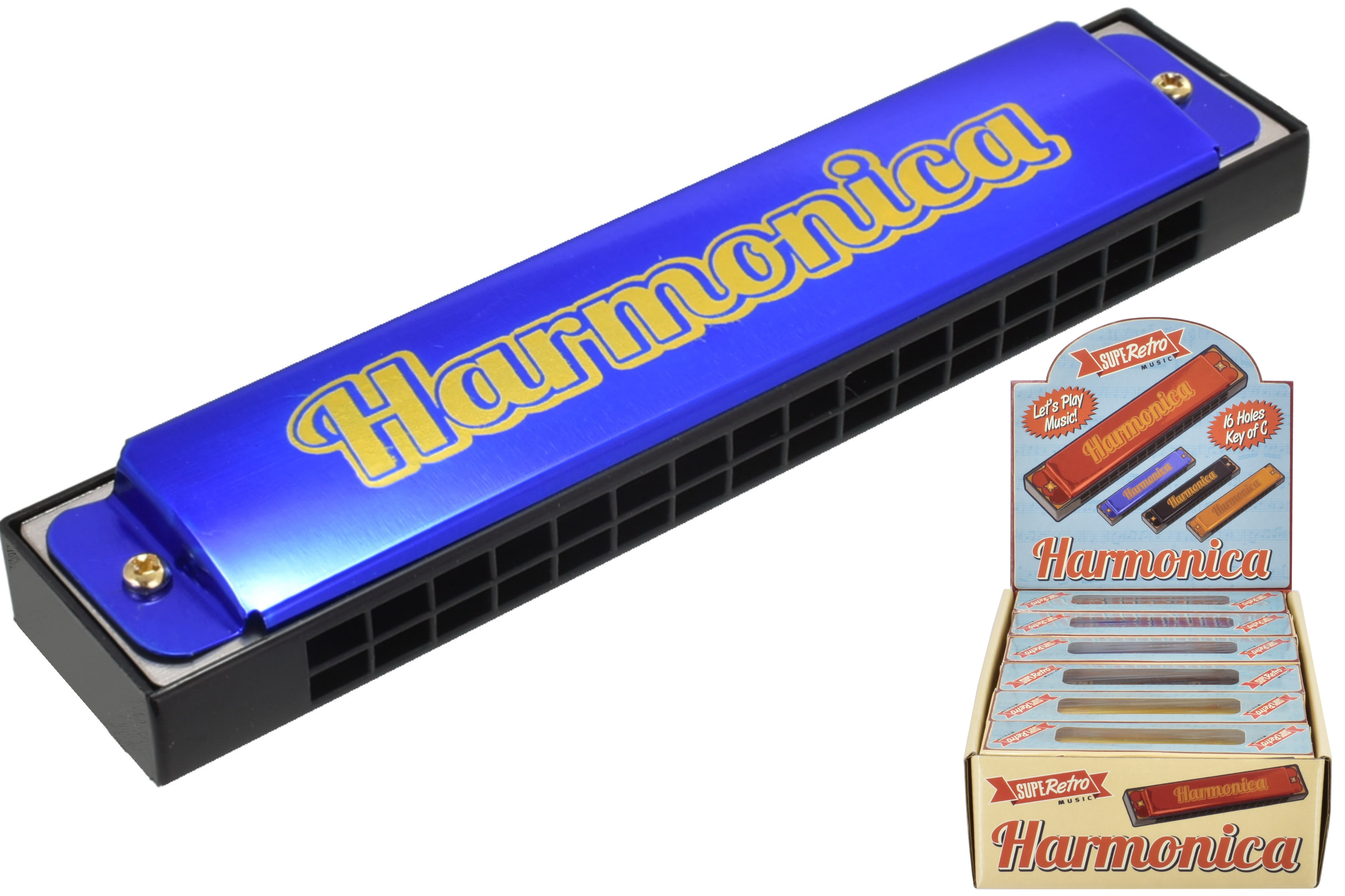 "Harmonica 16 Hole 4 Assorted Colours ""Retro"" Wbx Dbx"