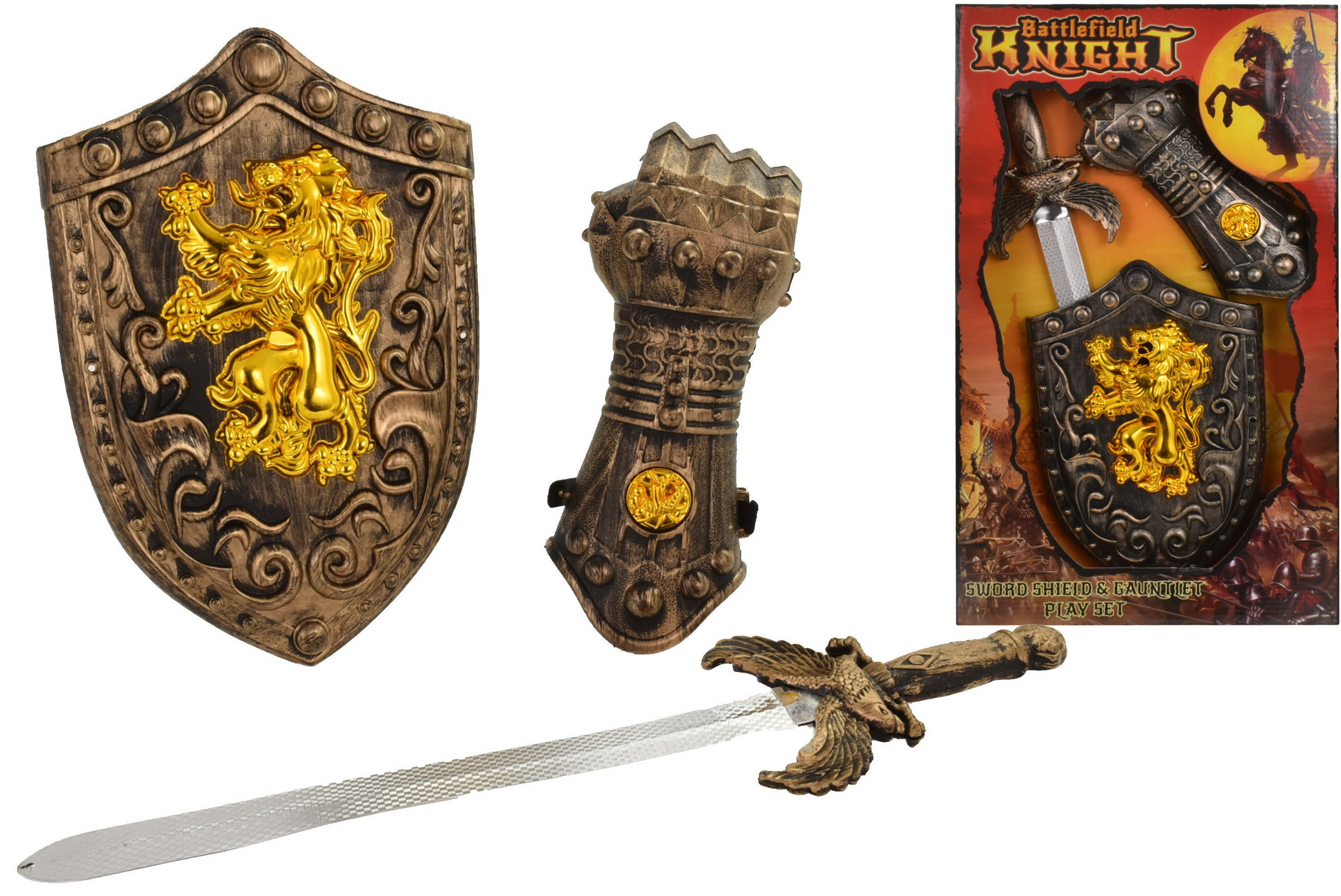 Sword Shield & Gauntlet Playset In Open Touch Box