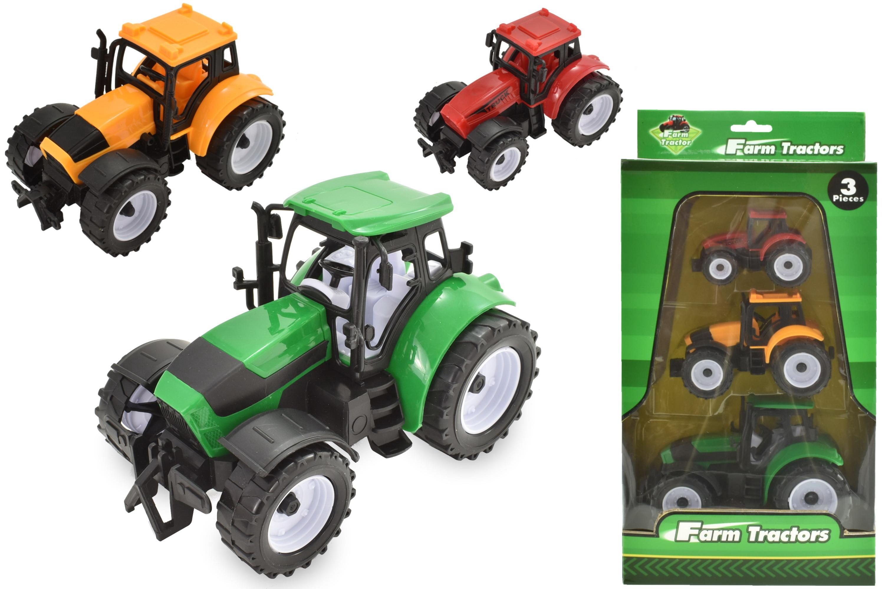 3pc Plastic Tractors In Colour Window Box