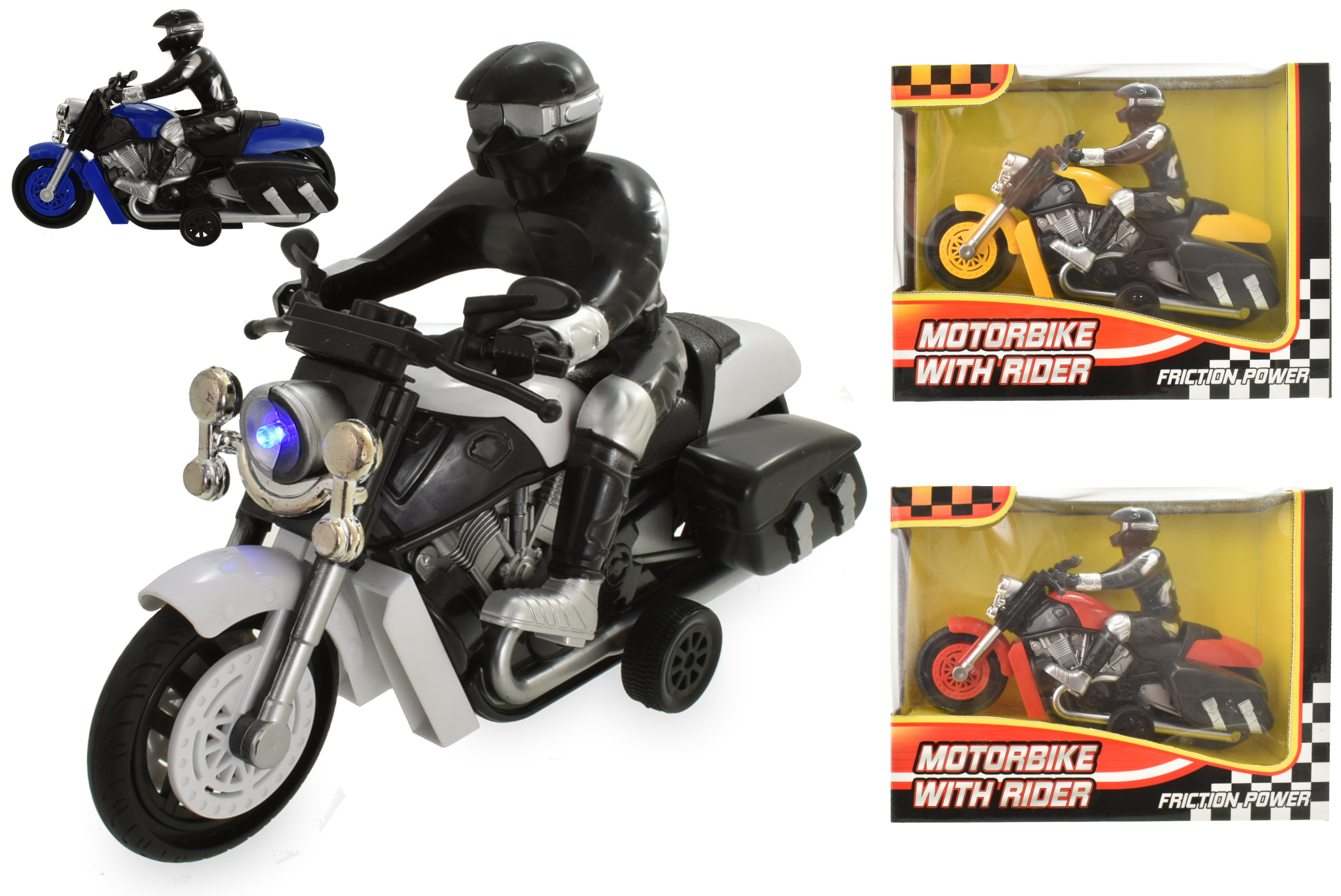 "Large Motorbike With Rider ""Try Me W/ Sound & Light"" Wb"