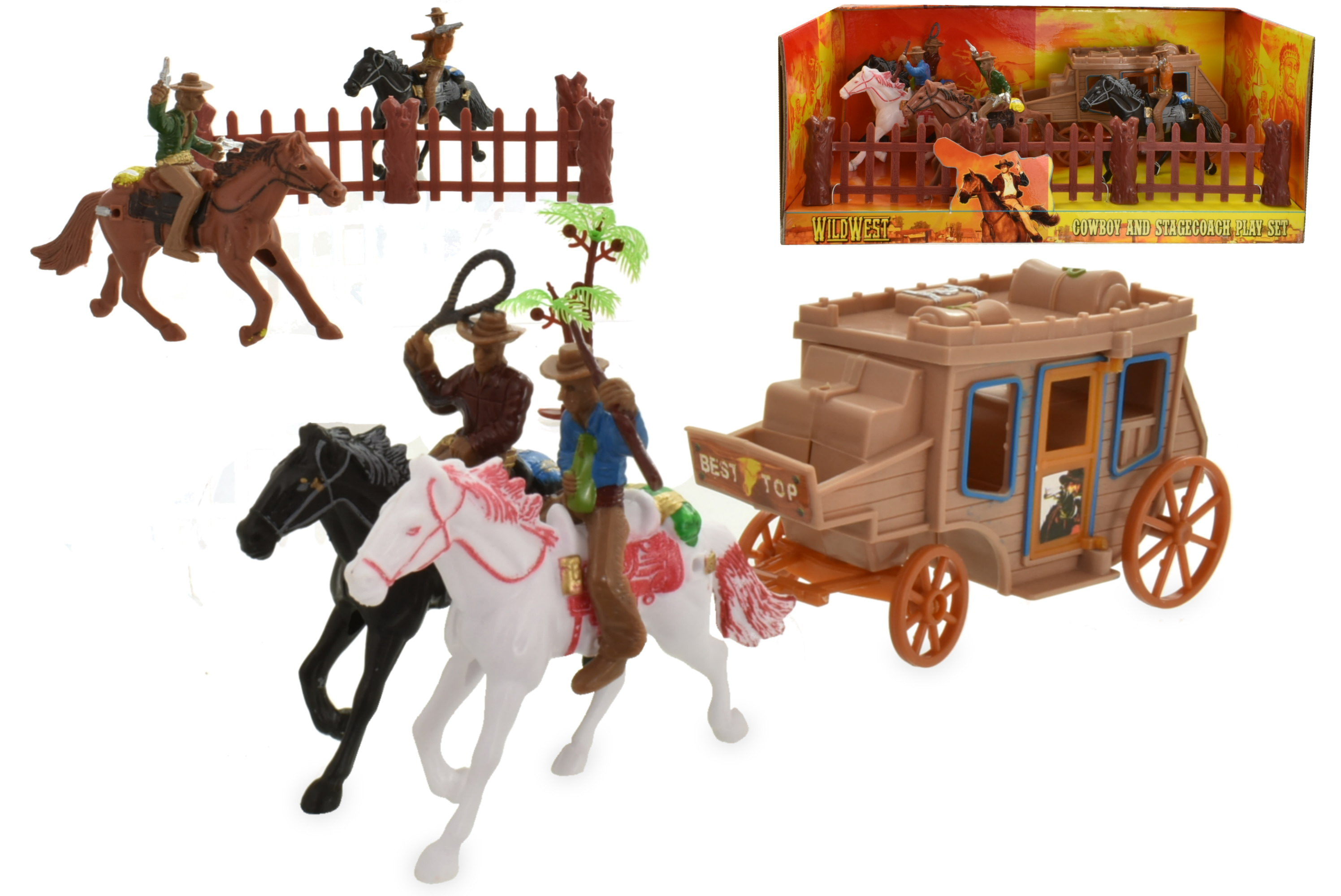 Cowboy And Stage Coach Playset In Window Box