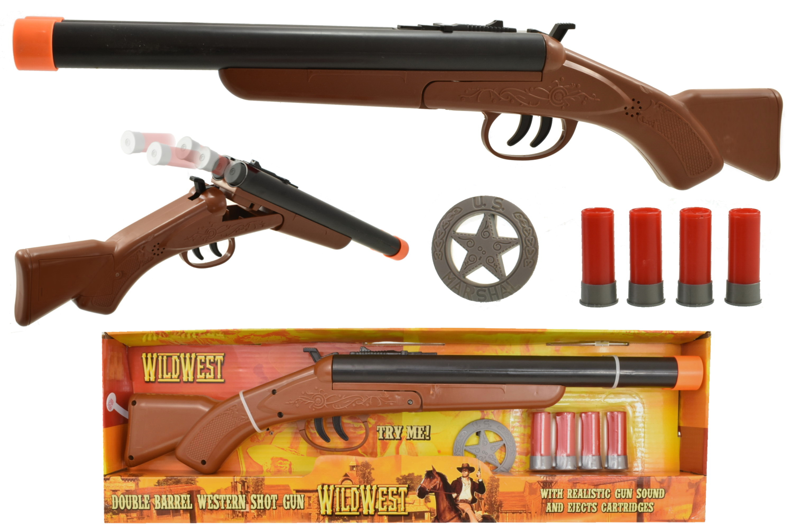 "Double Barrel Western Shotgun ""Try Me"" - Open Touch Box"