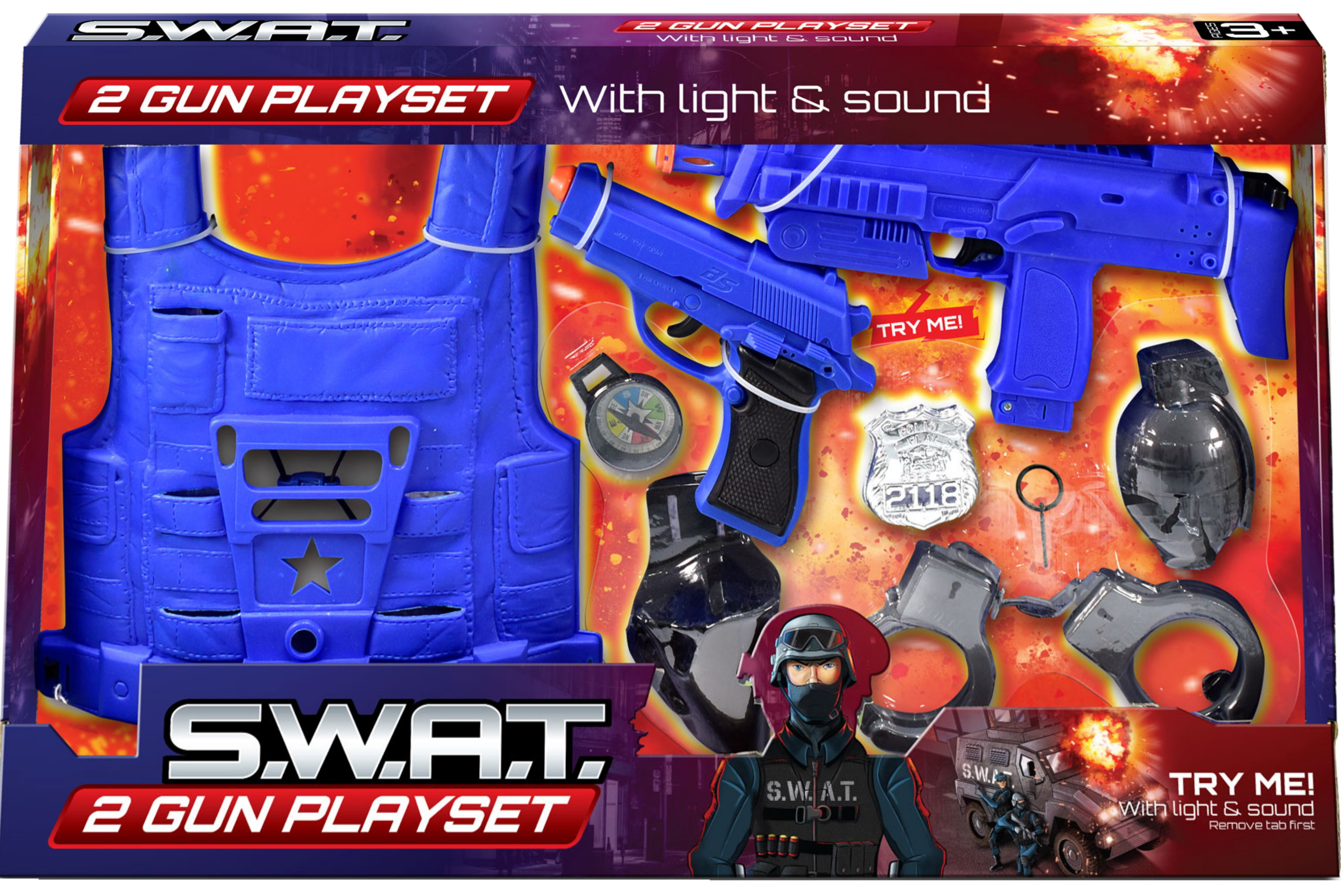 "Swat Police 2 Gun Playset ""Try Me"" In Open Touch Box"