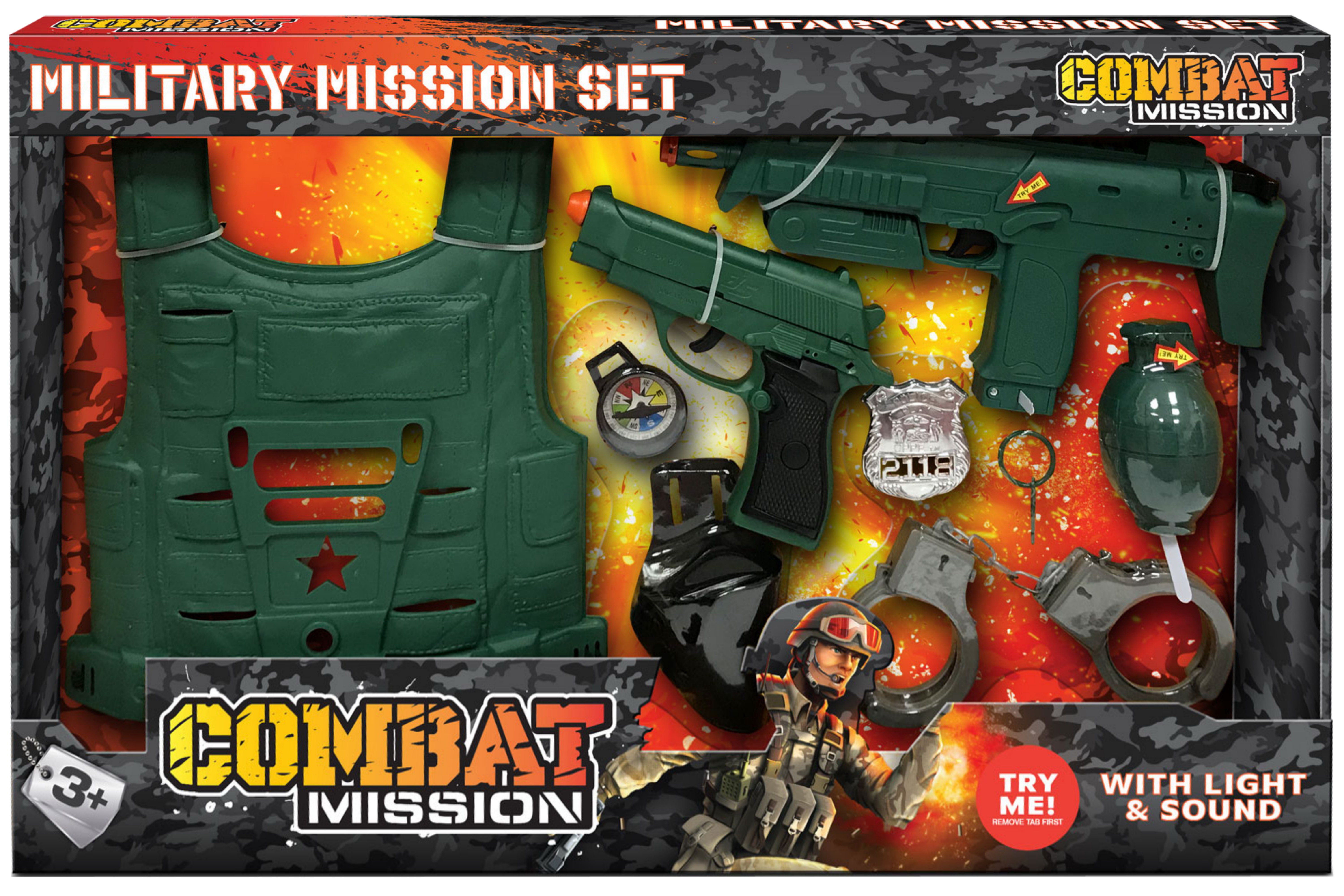 "Combat Mission 2 Gun Playset ""Try Me"" - Open Touch Box"