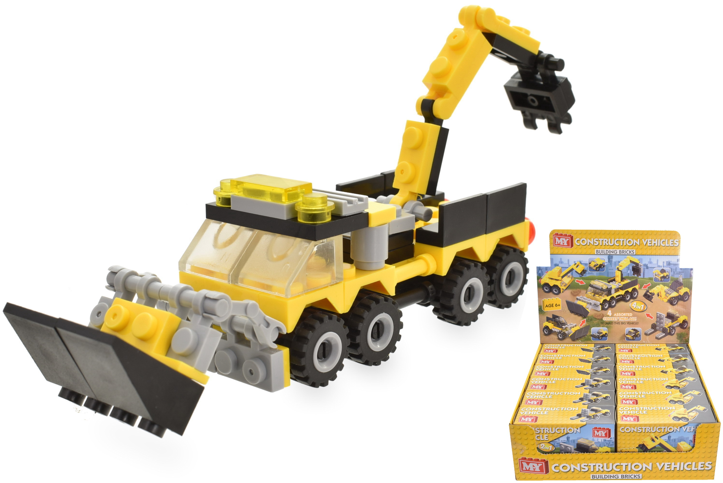 Construction Vehicle (4 Asst) Brick Sets In Colour Box