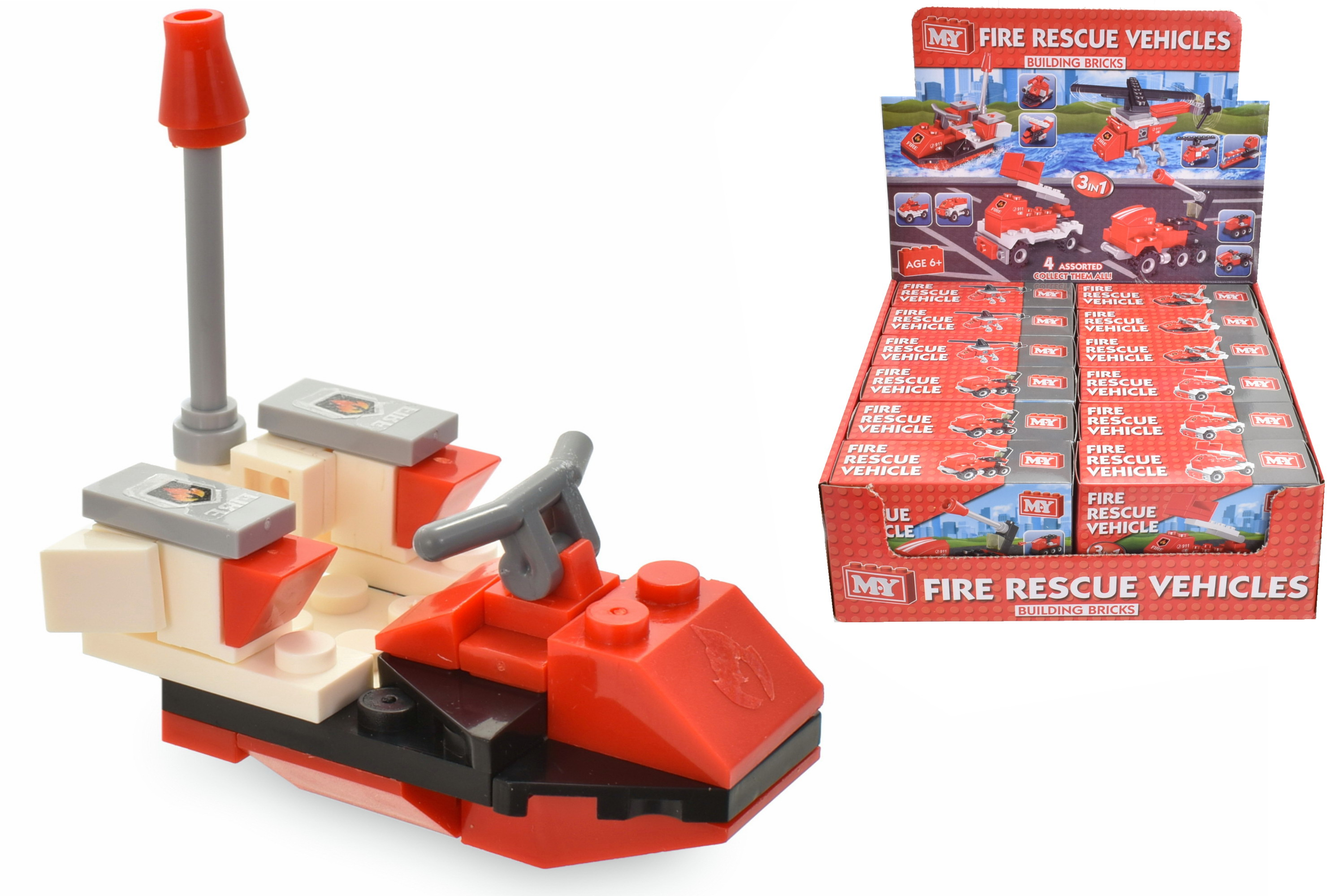 Fire Rescue Vehicle (4 Asst) Brick Sets In Colour Box