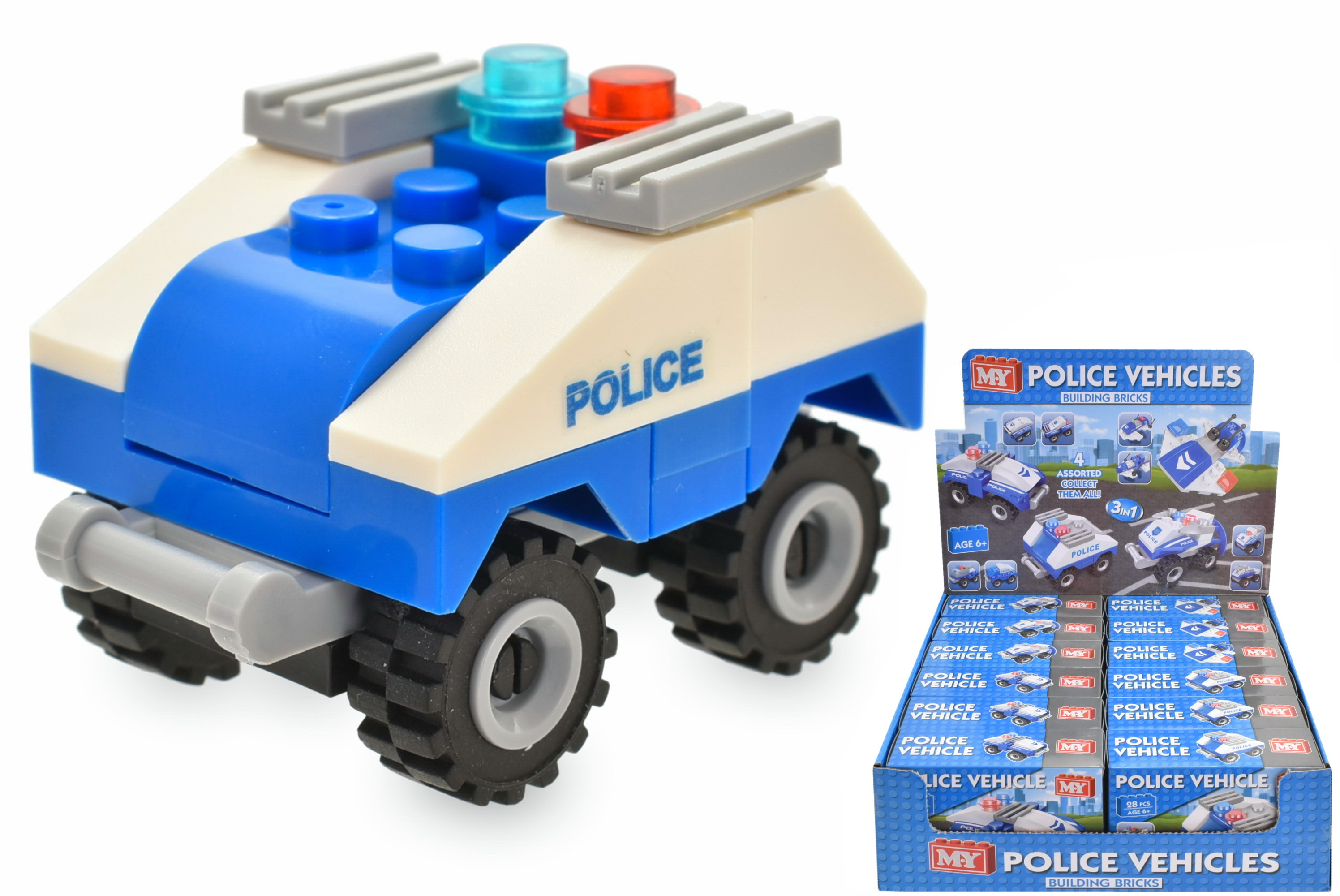 Police Vehicle (4 Asst) Brick Sets In Colour Box