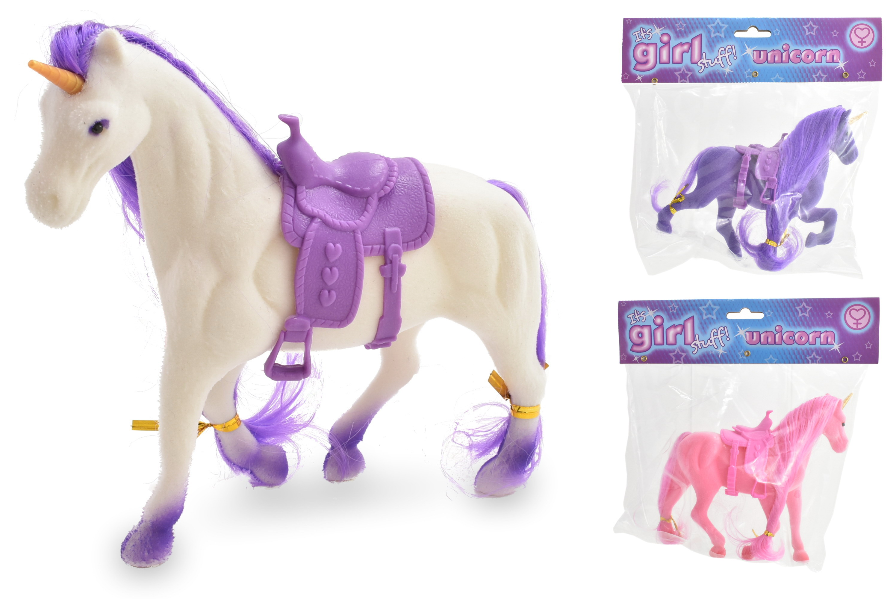 Flocked Unicorn (3 Assorted Colours) Pvc Bag/Header