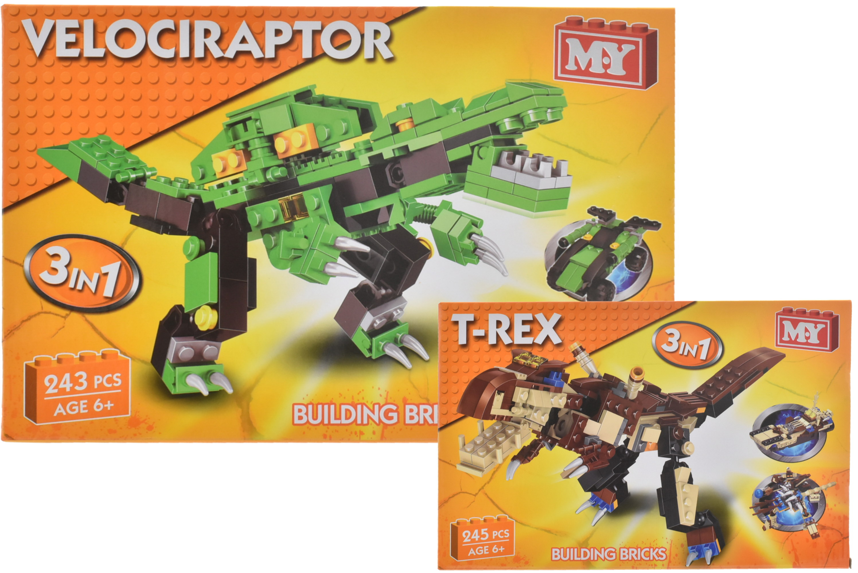 Dinosaur 3 In 1 Brick Sets (2 Assorted) In Colour Box