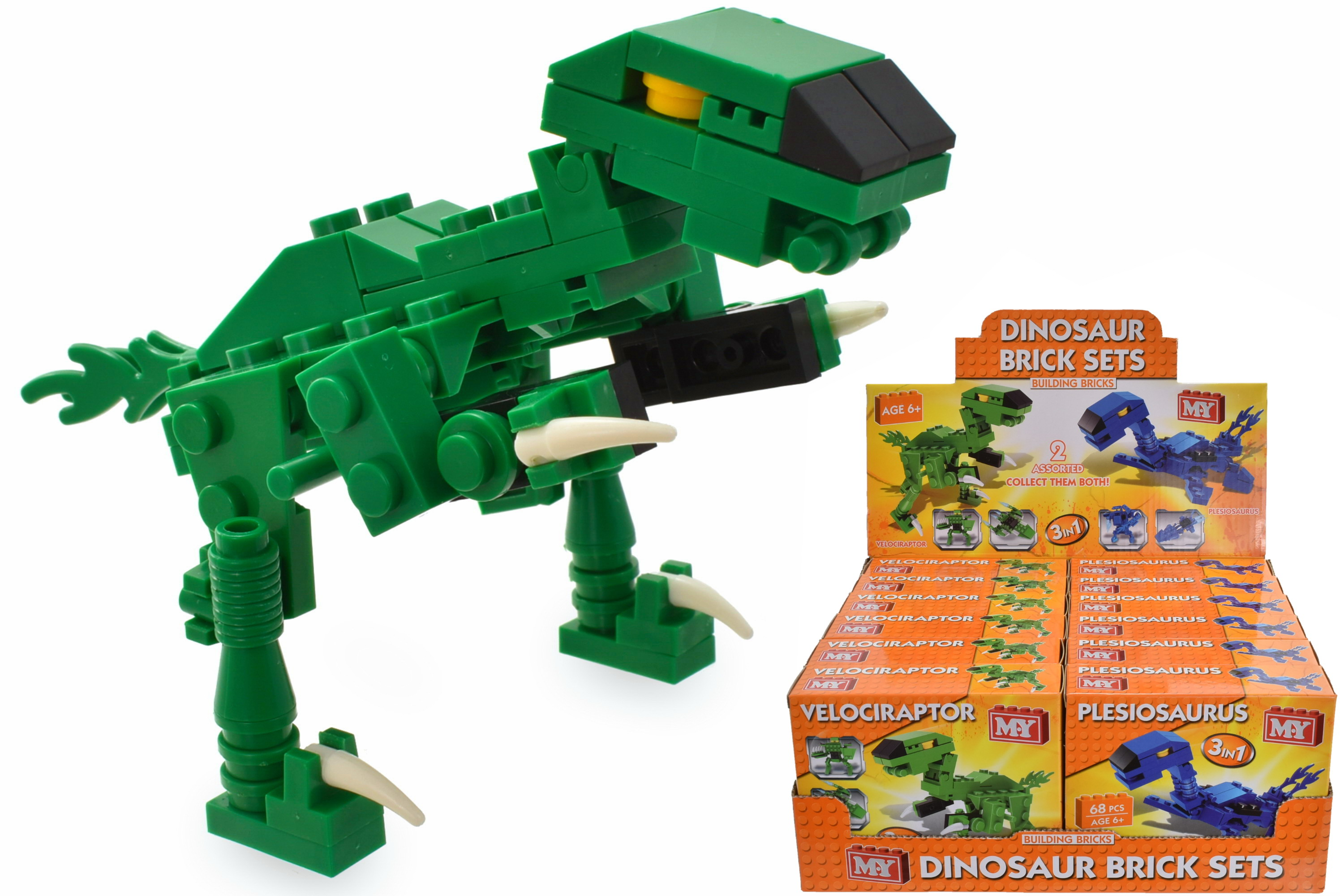 Dinosaur Brick Sets (2 Assorted) In Colour Box & D/Box