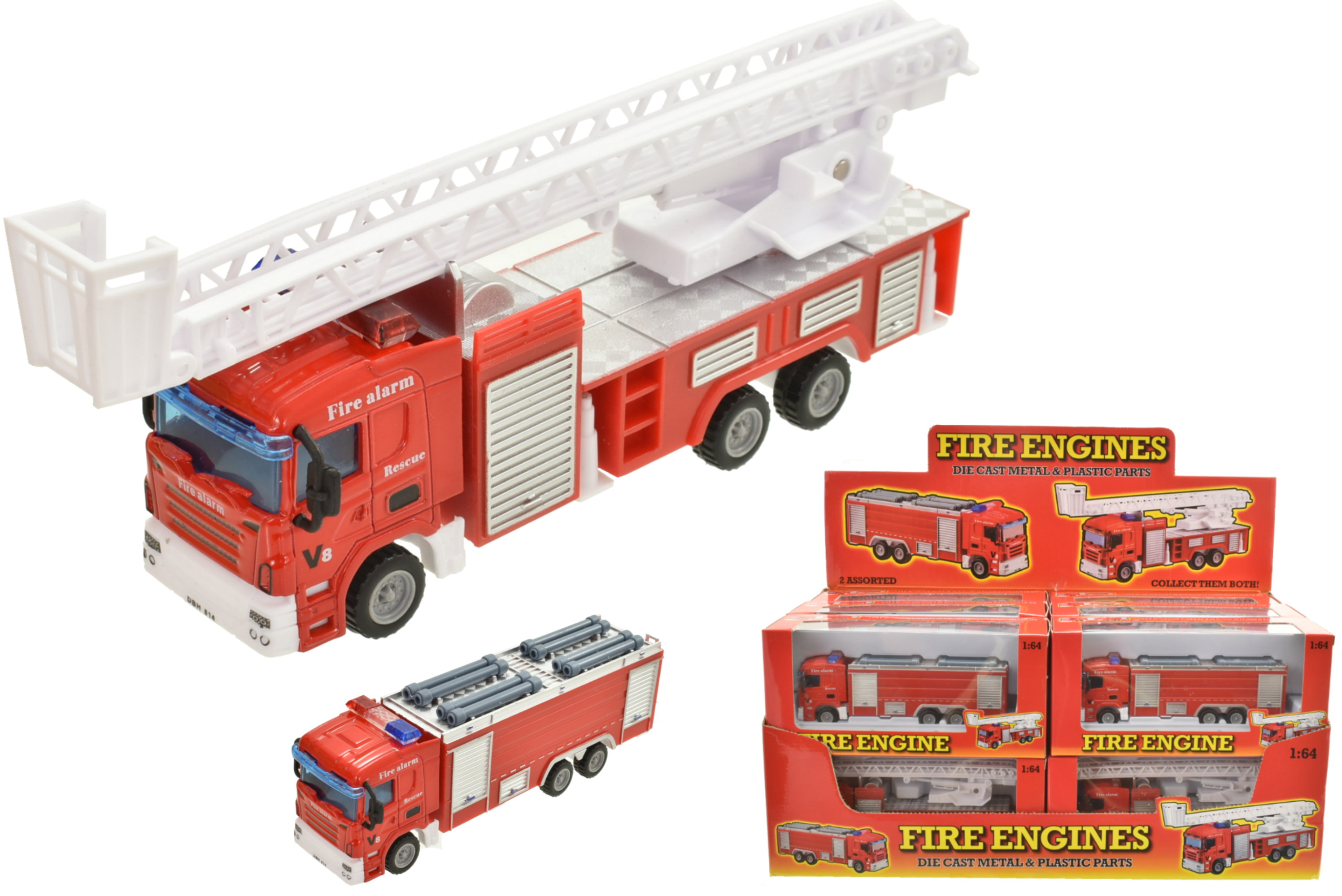 1:64 Scale Die Cast Fire Engines In Window Box & D/Box