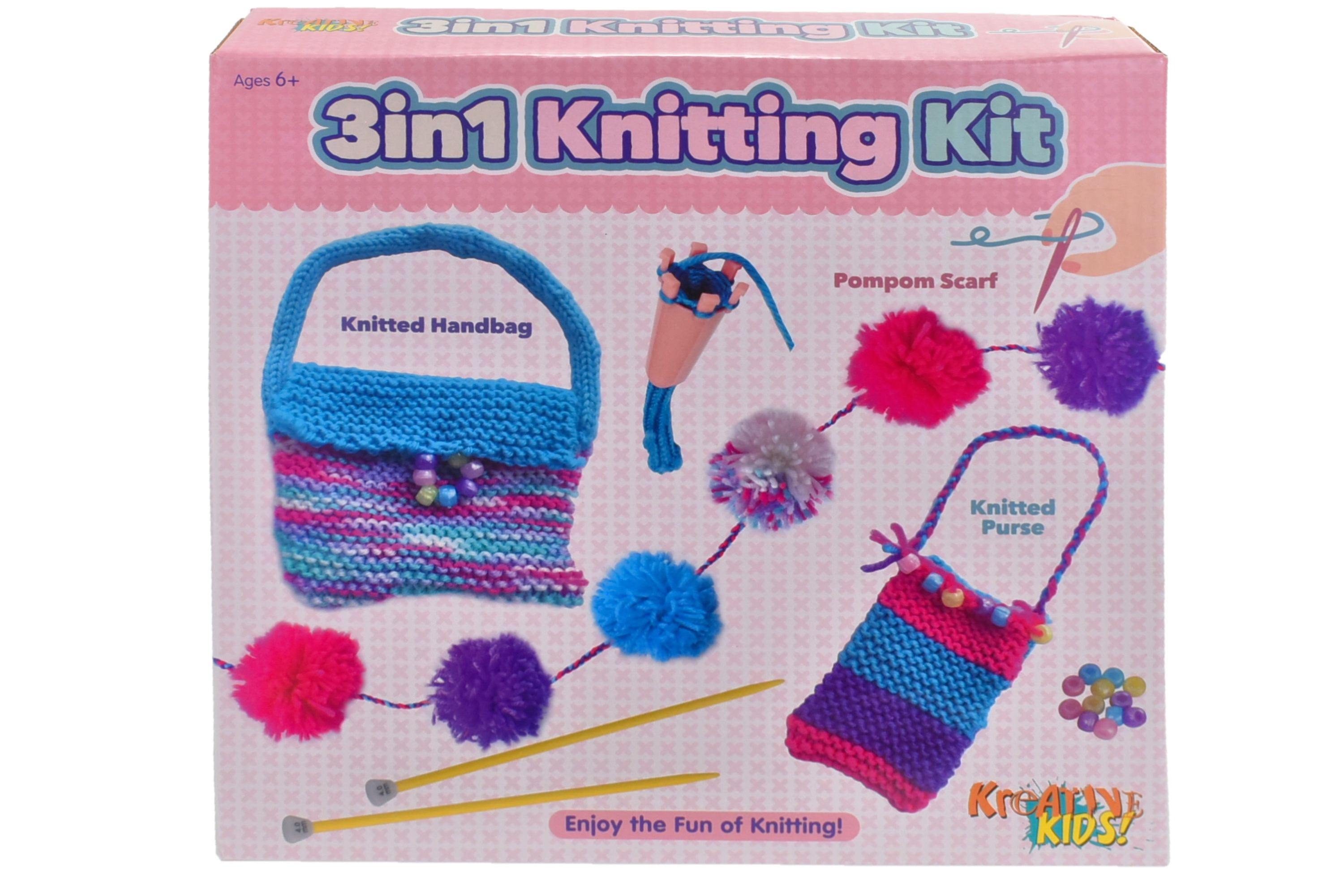 3in1 First Knitting Kit In Colour Box