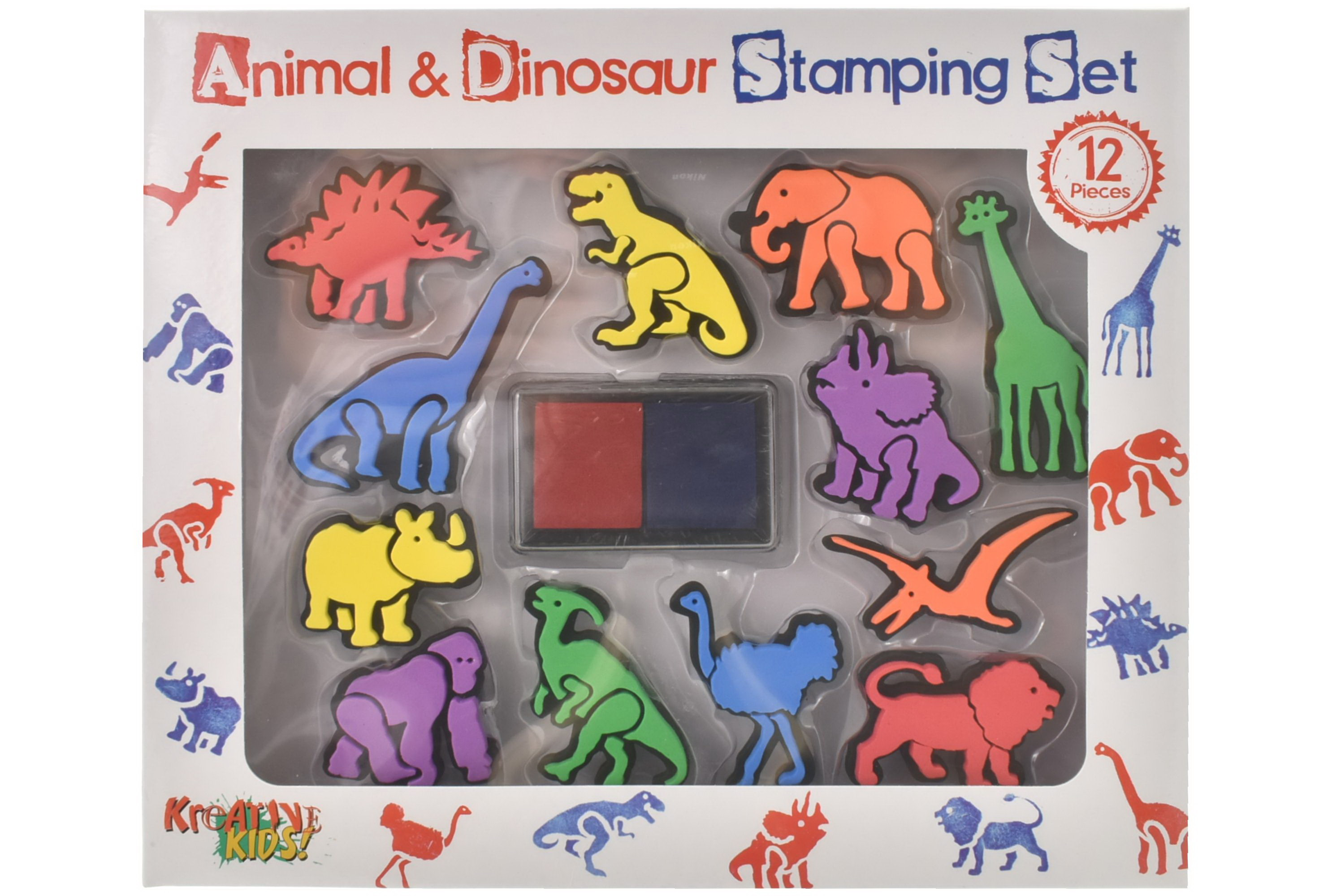 12pc Large Animal & Dinosaur Stamping Set In Colour Box