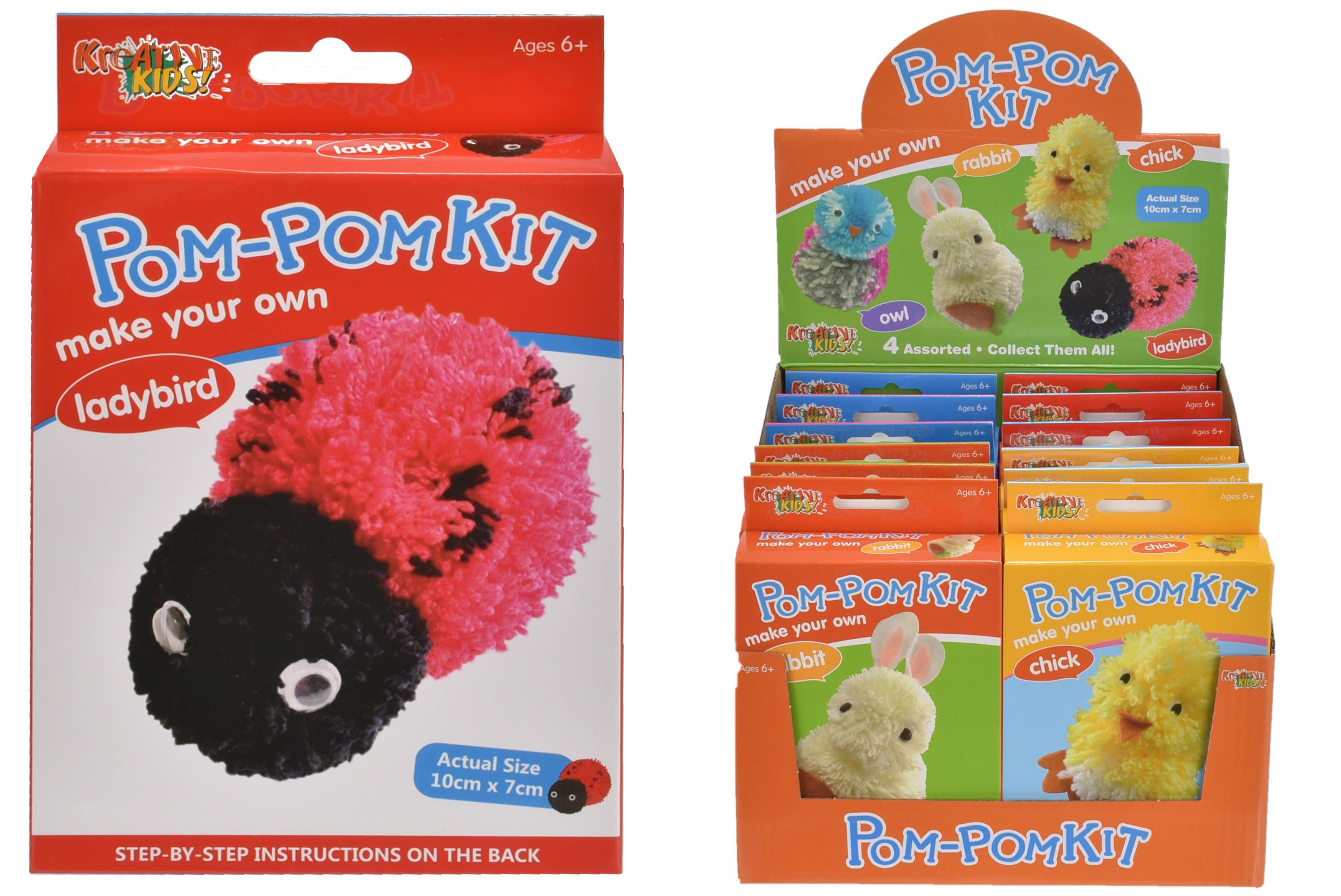 Pom Pom Kits 4 Assorted In Colour Box & Display Box