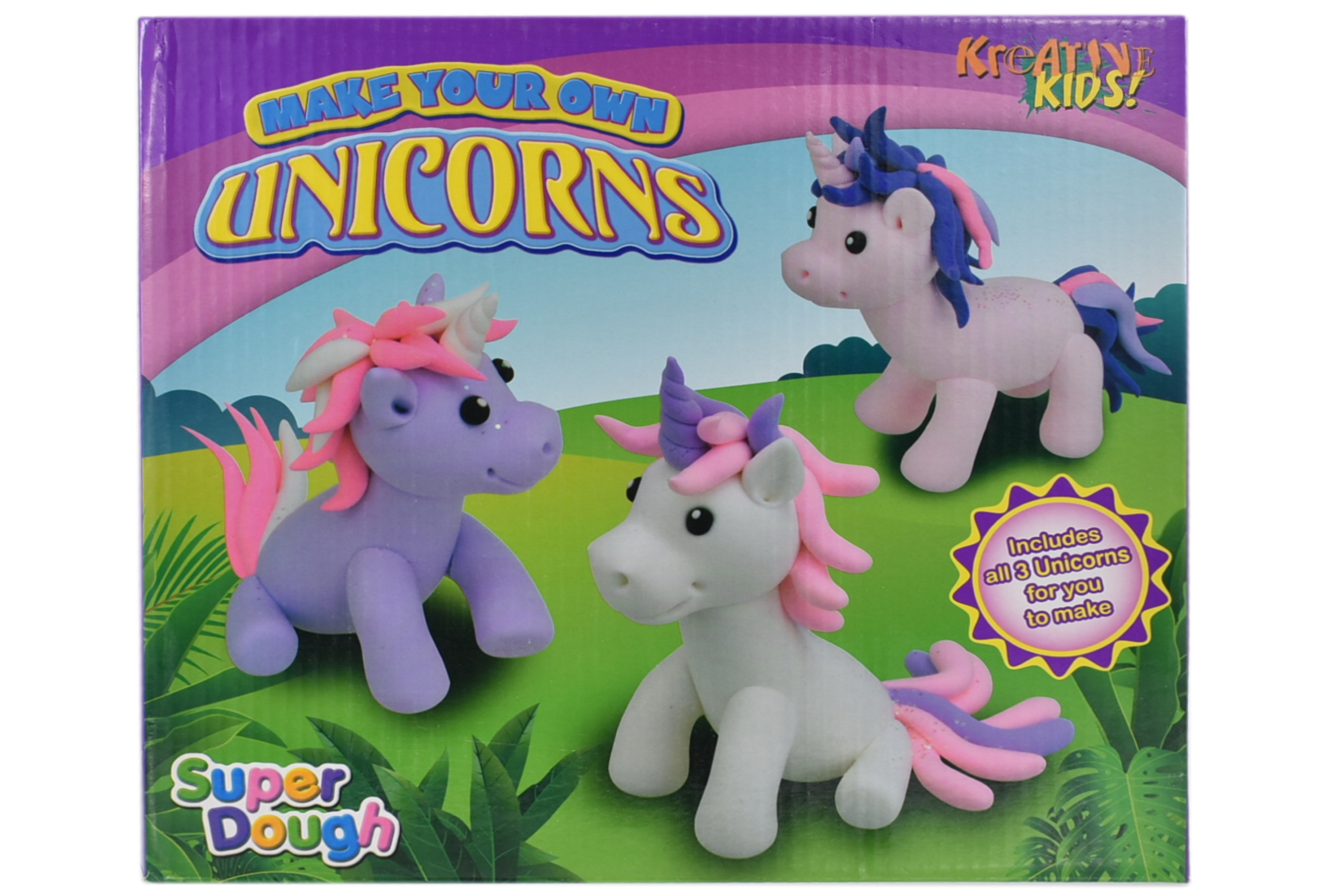 Super Dough - Make Your Own Unicorns 3pcs In Colour Box