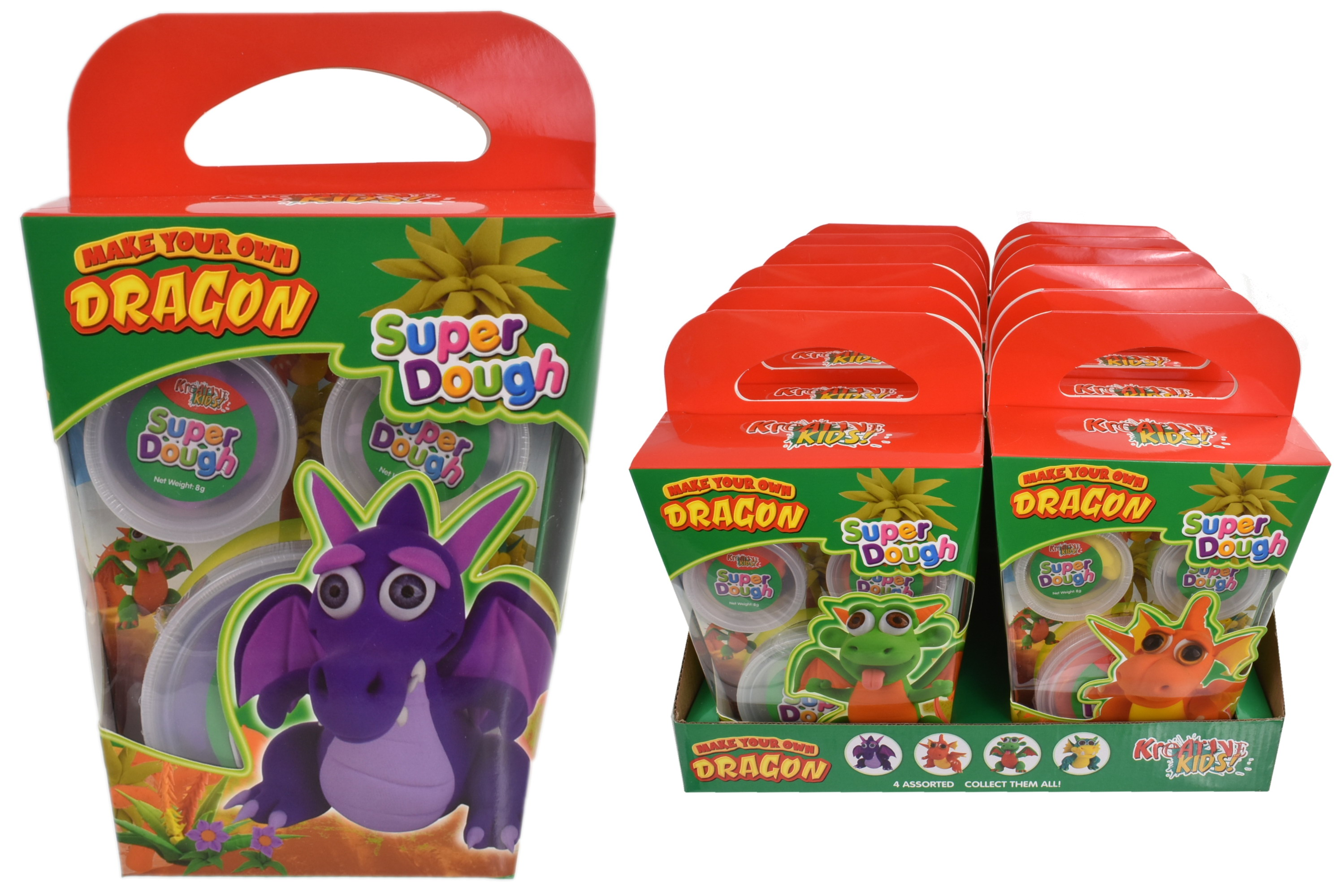Super Dough Dragon Playset (4 Assorted)  Colour Box/Dbx