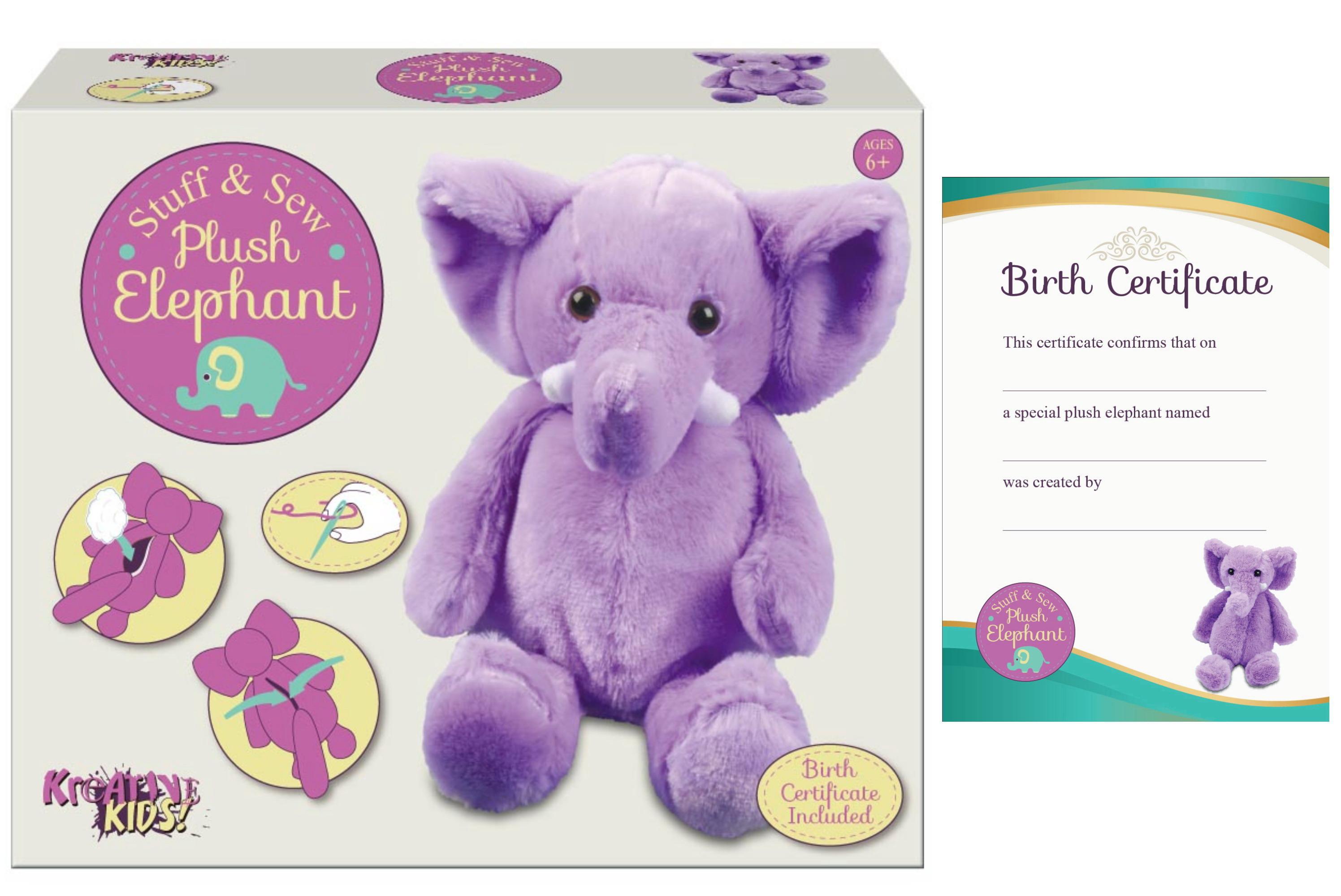 Large Stuff & Sew Plush Elephant In Colour Box