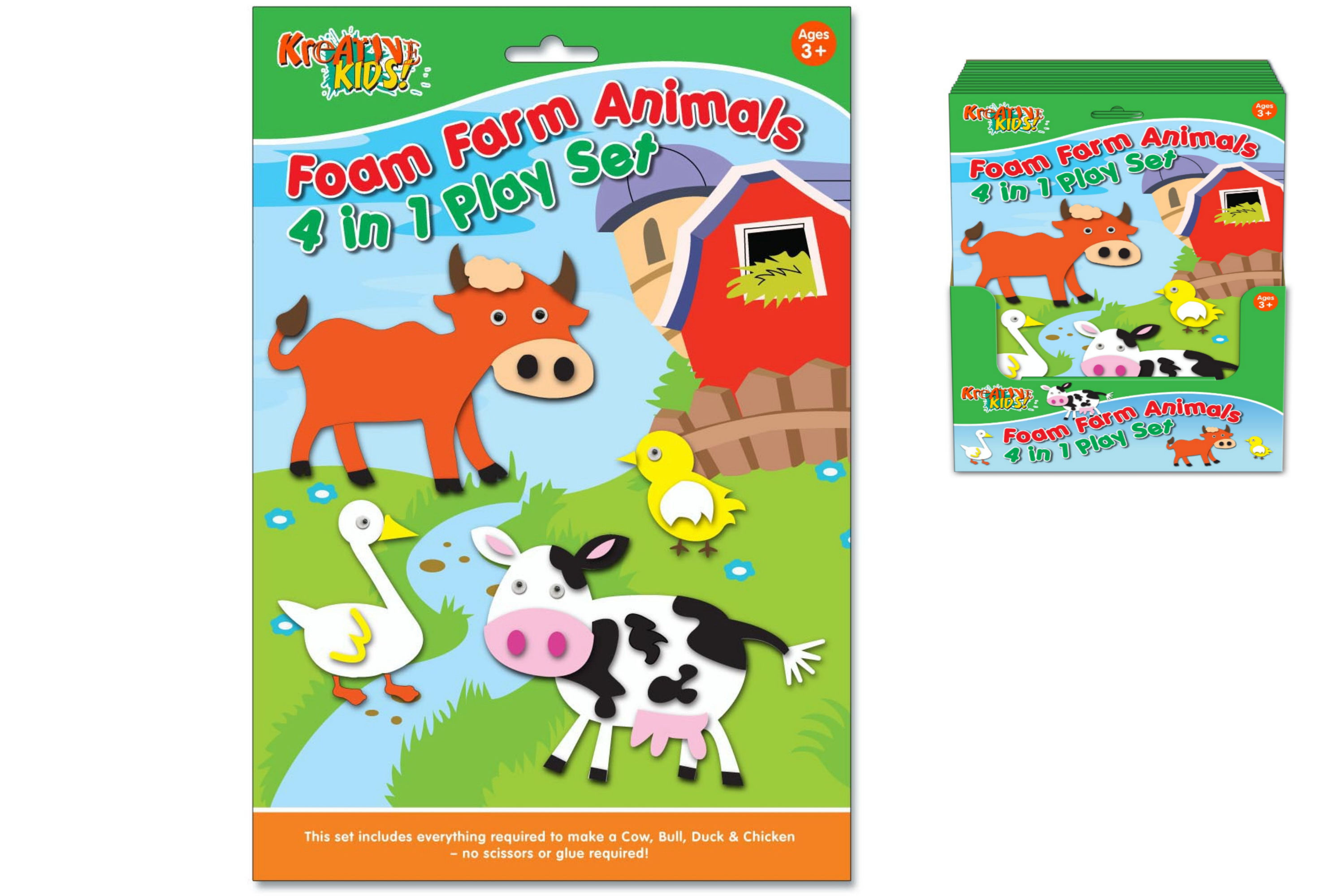 Foam Playsets Farm Animals In Hanging Sleeve & Pdq