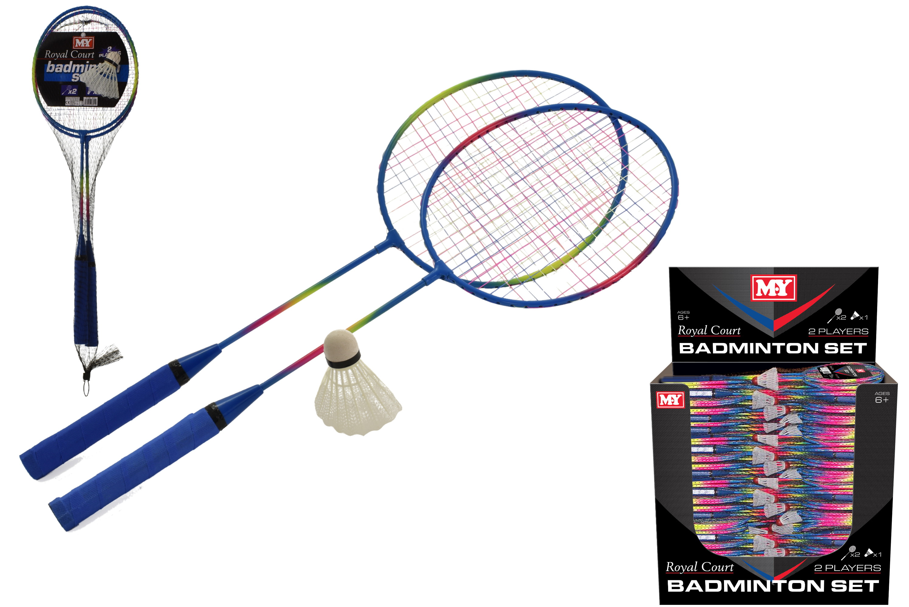 "2 Player Metal Badminton (Hot Colours) In D/Box ""M.Y"""