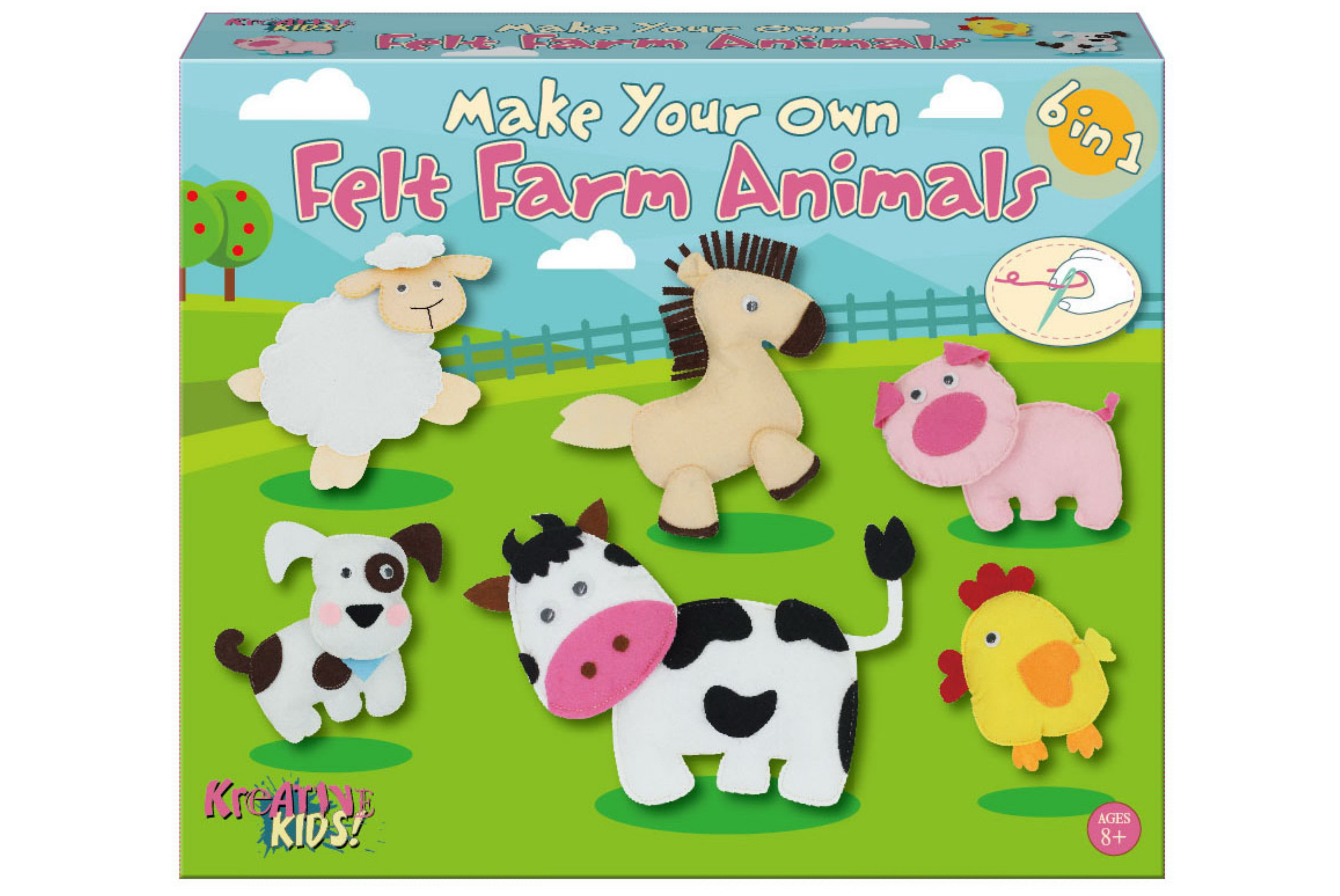 Make Your Own Felt 6-In-1 Farm Animals Playset Col/Bx