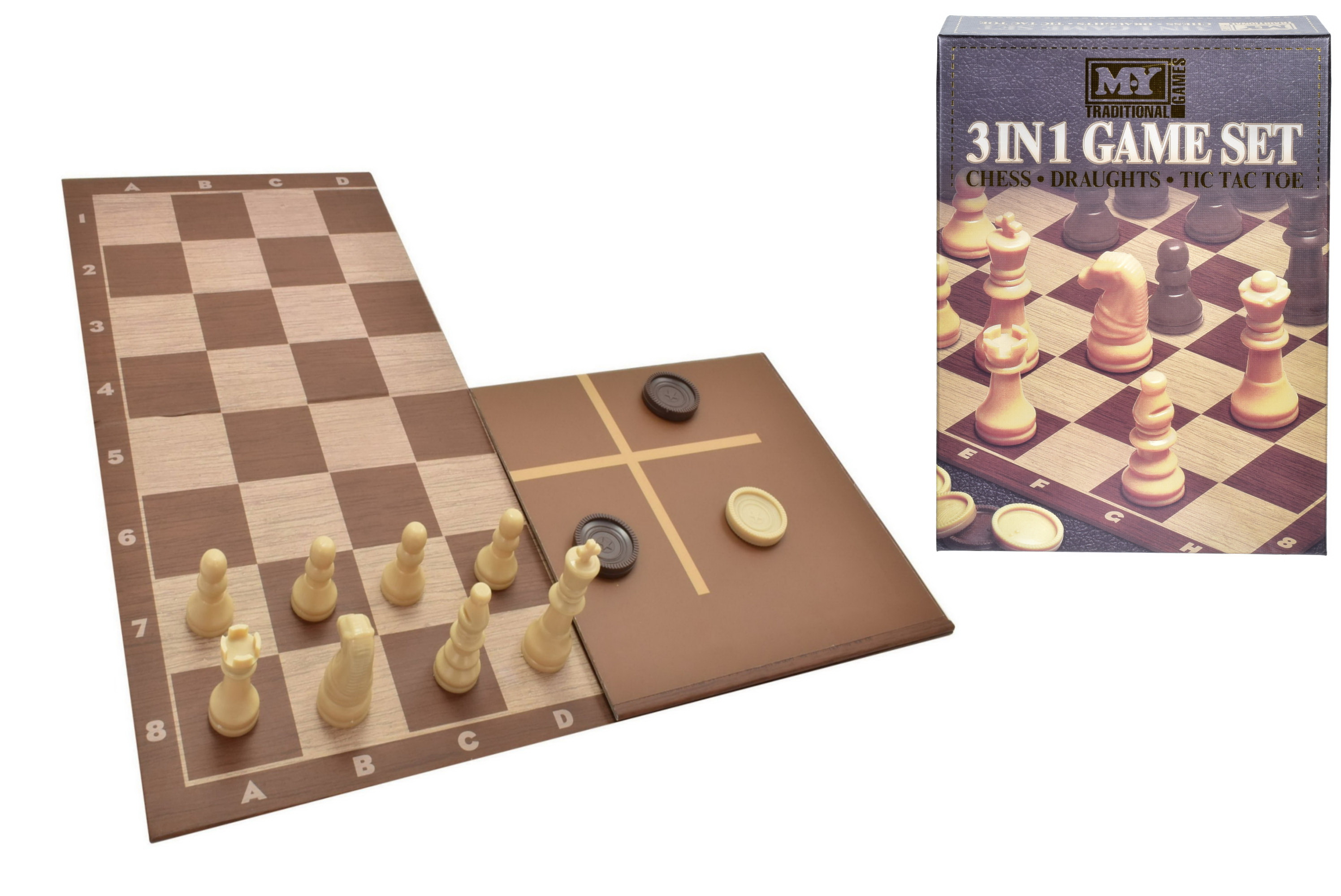 3-In-1 Chess  Checkers & Tic Tac Toe Game Set In Cbx