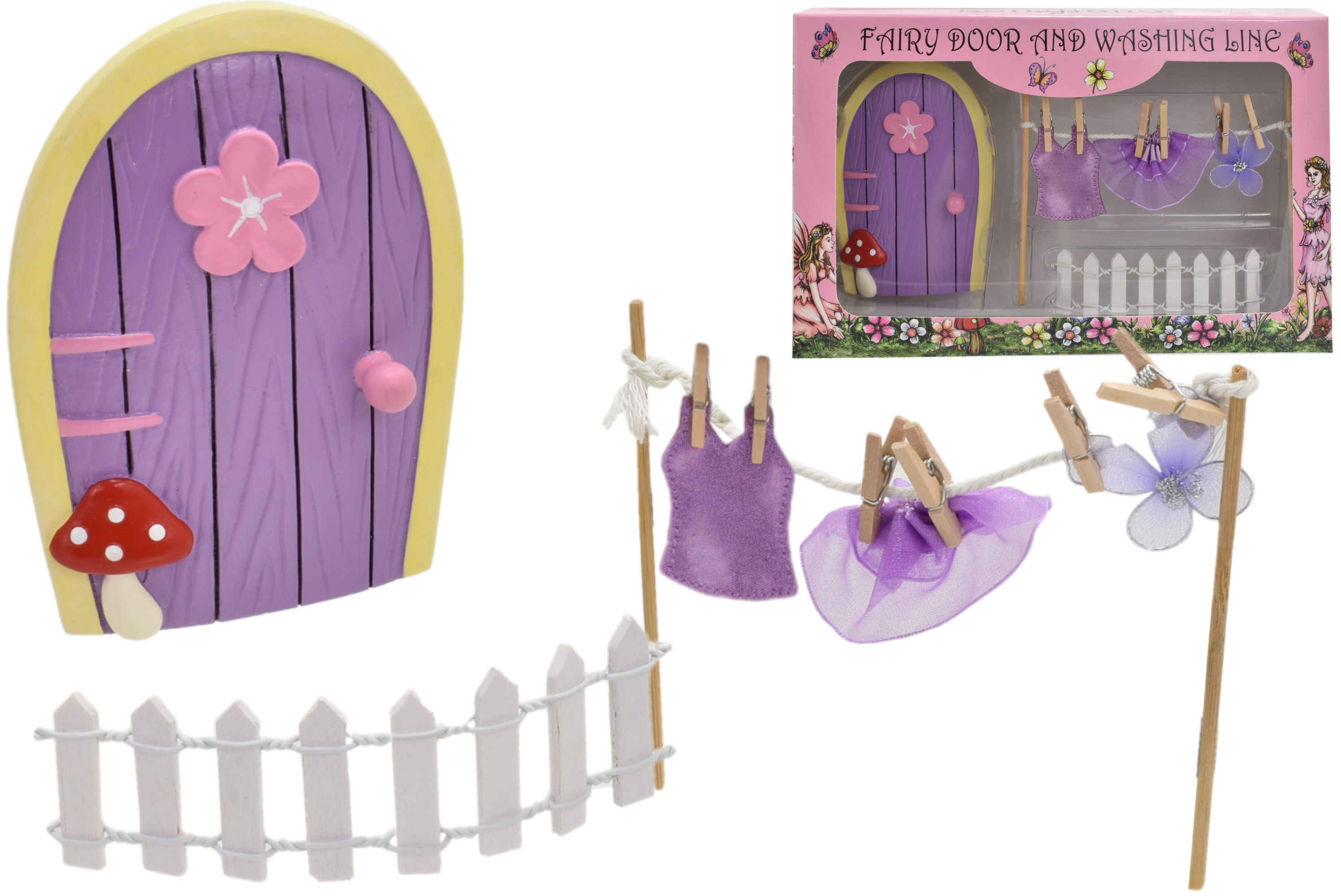 Fairyland Door Set With Washing Line In Window Box
