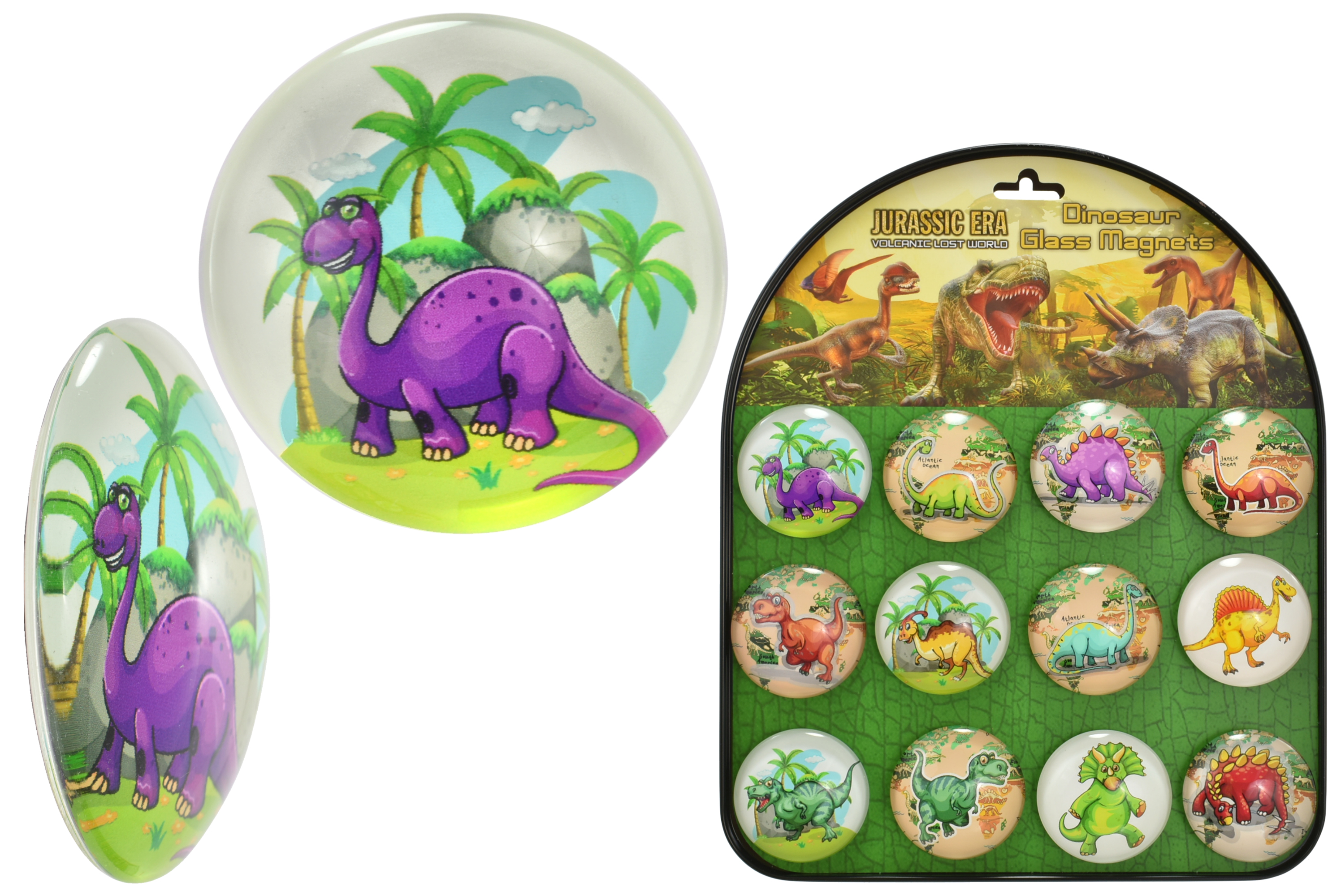 5cm Dinosaur (12 Assorted) Glass Magnets With Stand
