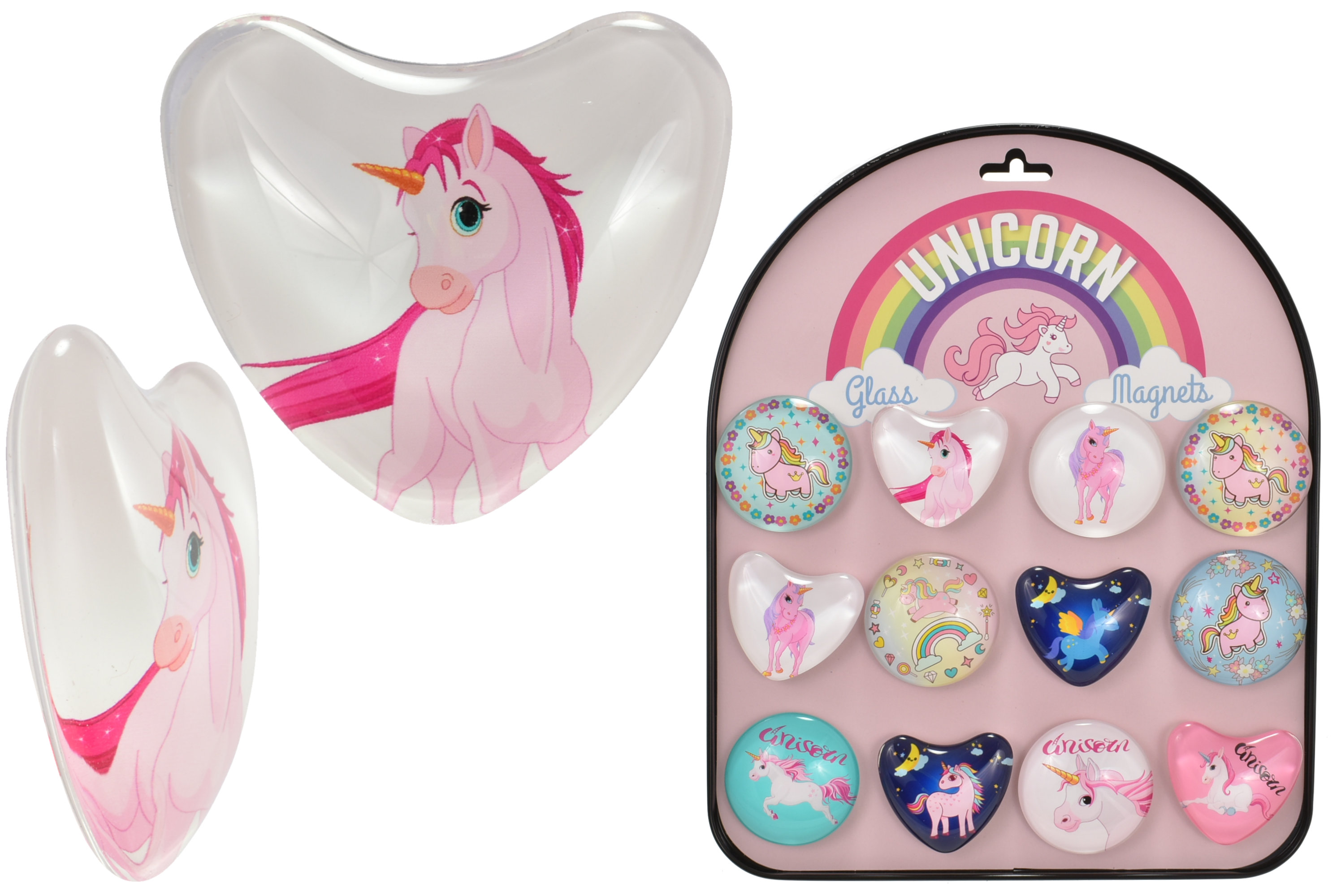 5cm Unicorn (12 Assorted) Glass Magnets With Stand