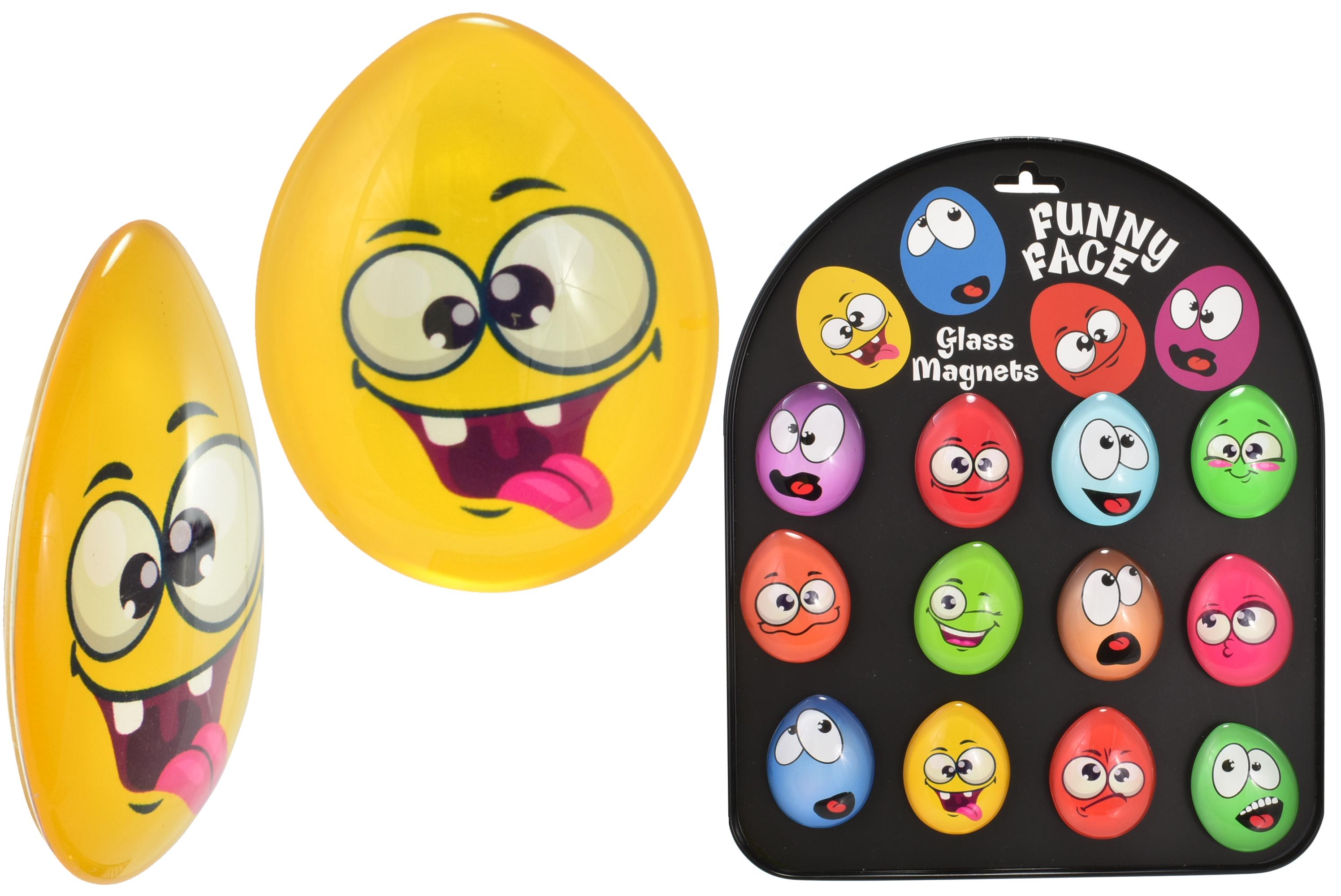 4.5cm Egg Shape Face (12 Assorted) Glass Magnets