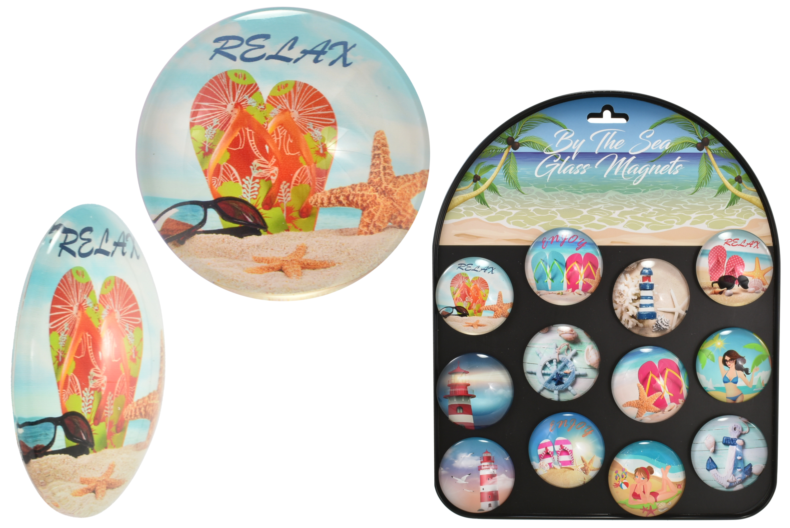 """5cm """"By The Sea"""" (12 Assorted) Glass Magnets With Stand"""
