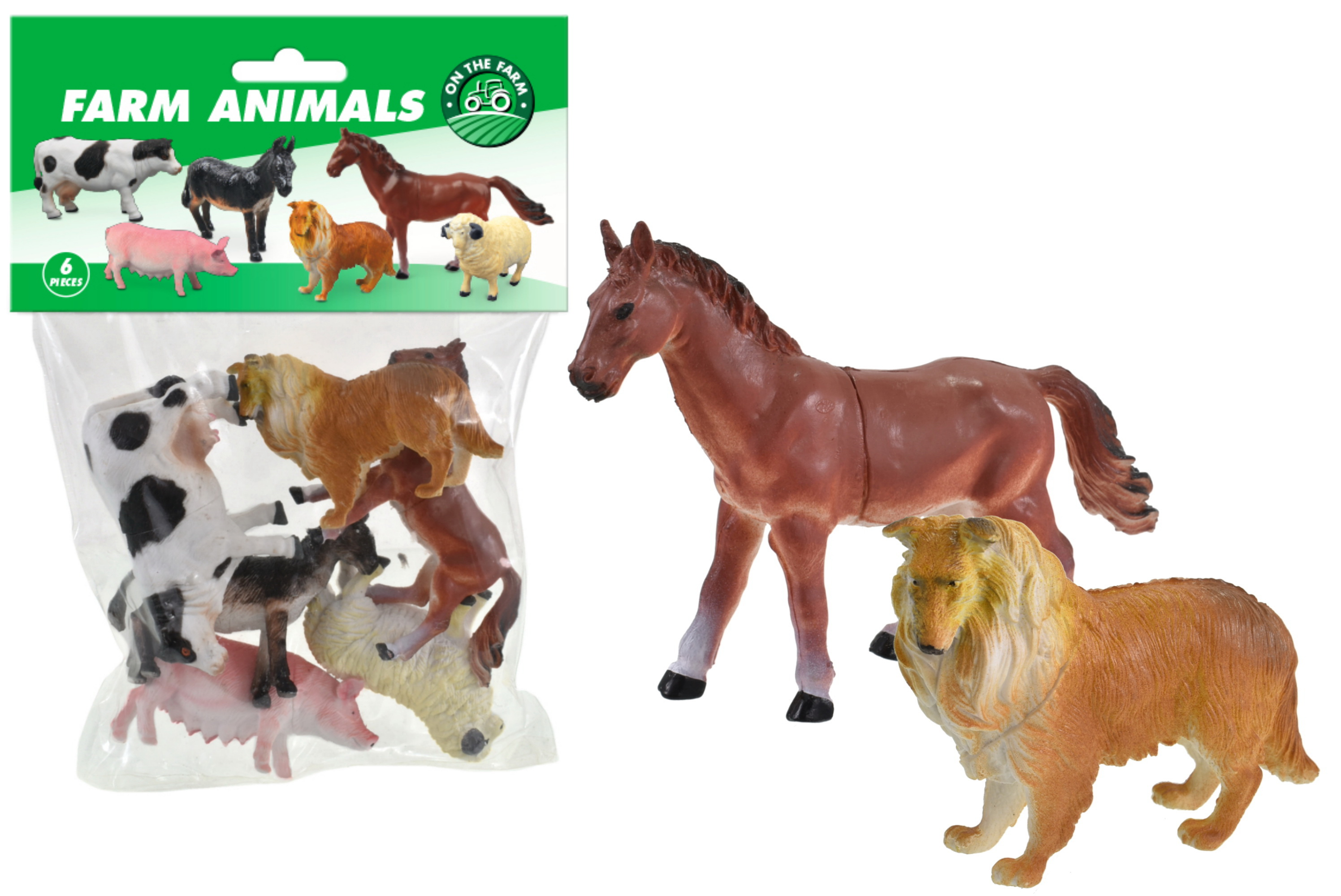 "6pc Farm Animals (4"") In Pvc Bag/Header"