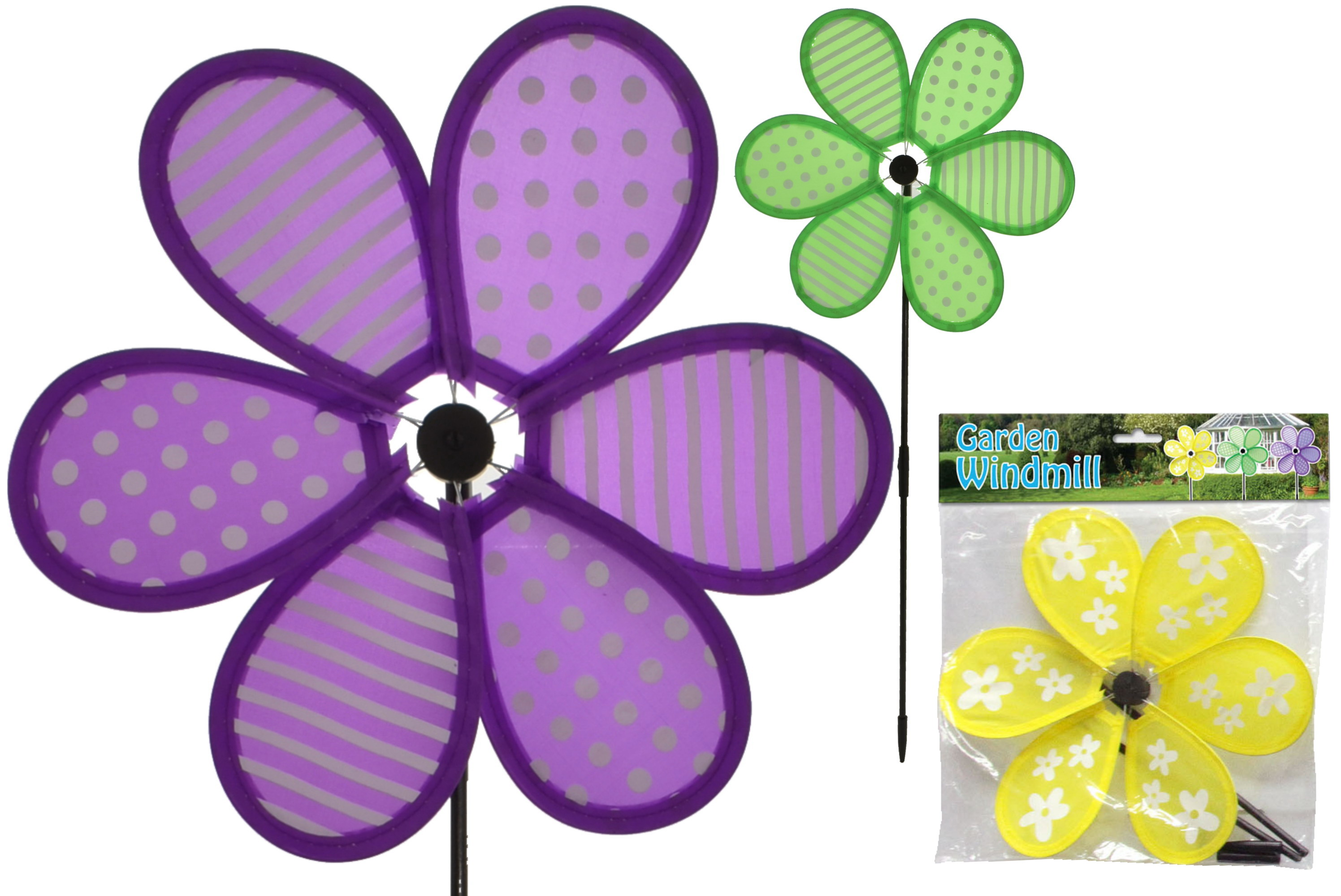 """10"""" 6 Petal Windmill 3 Assorted In Polybag/Header"""