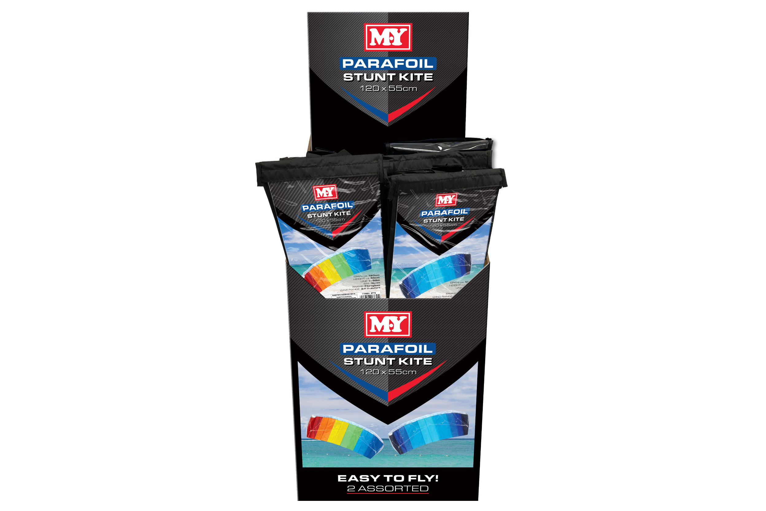 120cm x 55cm Nylon Parafoil Stunt Kite In Display Box