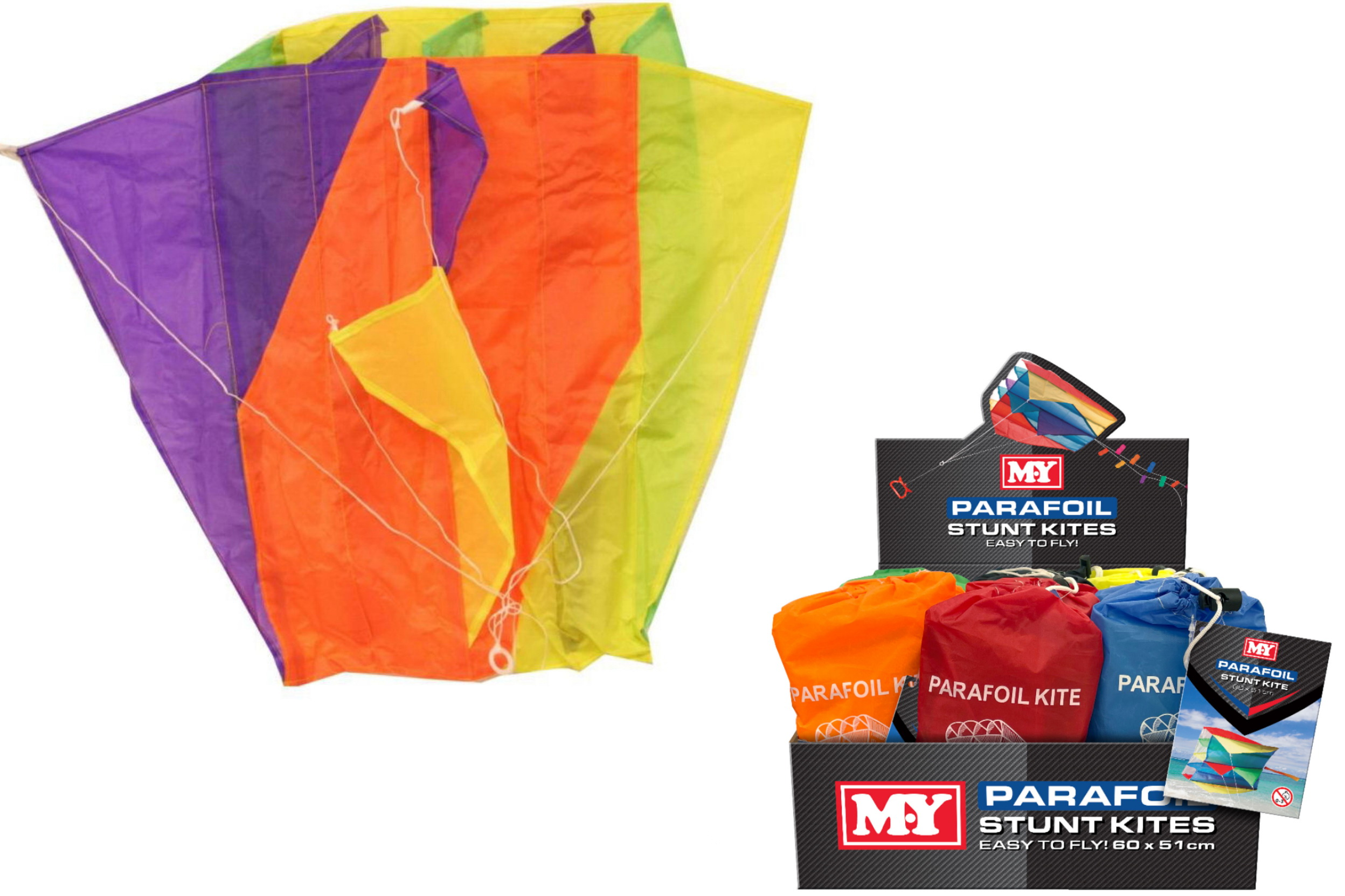 60cm x 51cm Nylon Parafoil Kite Bag In Display Box