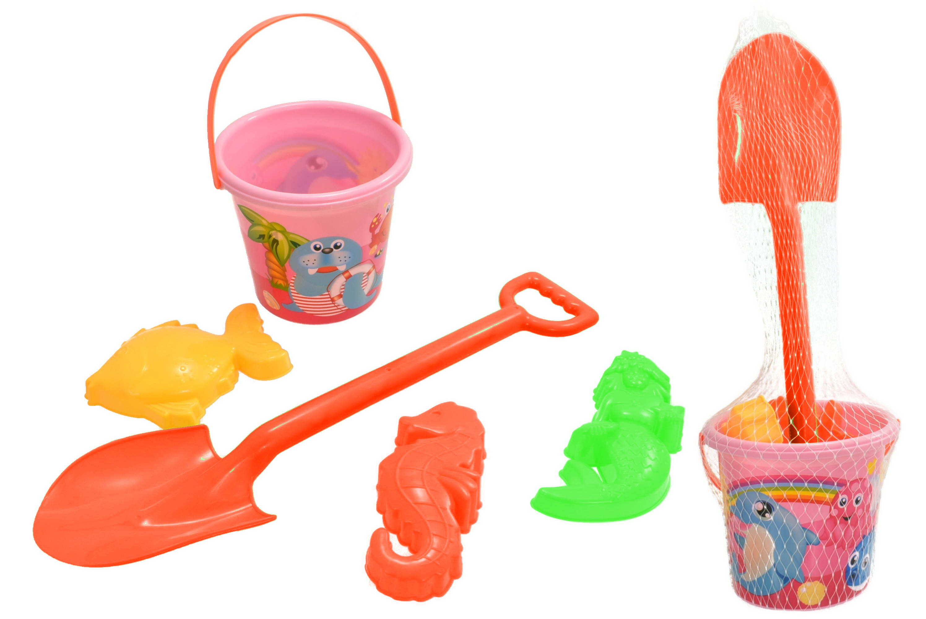 5pc Pink Bucket  Spade & Moulds Set - Netted