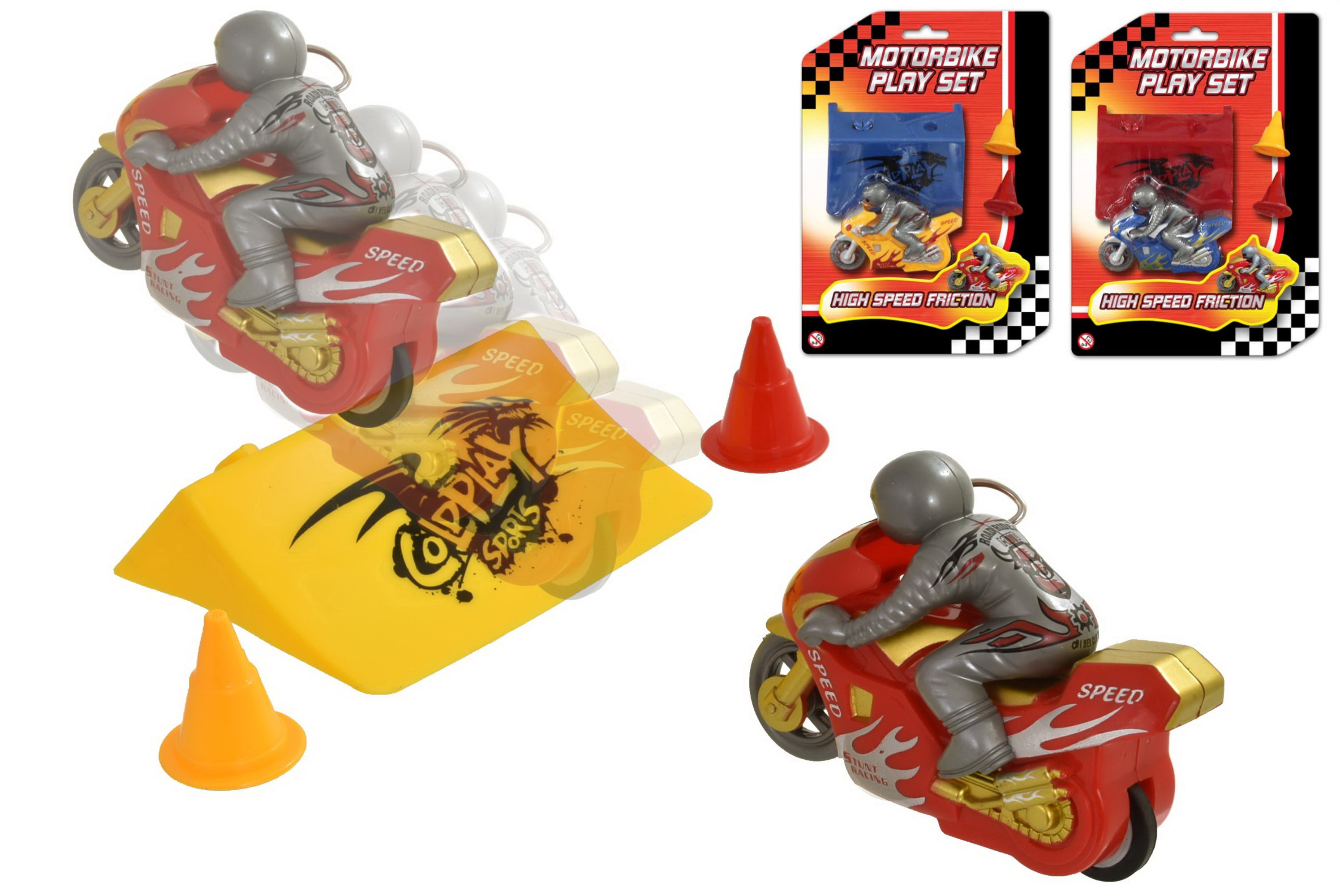 High Speed Friction Motorbike Playset (3 Assorted)