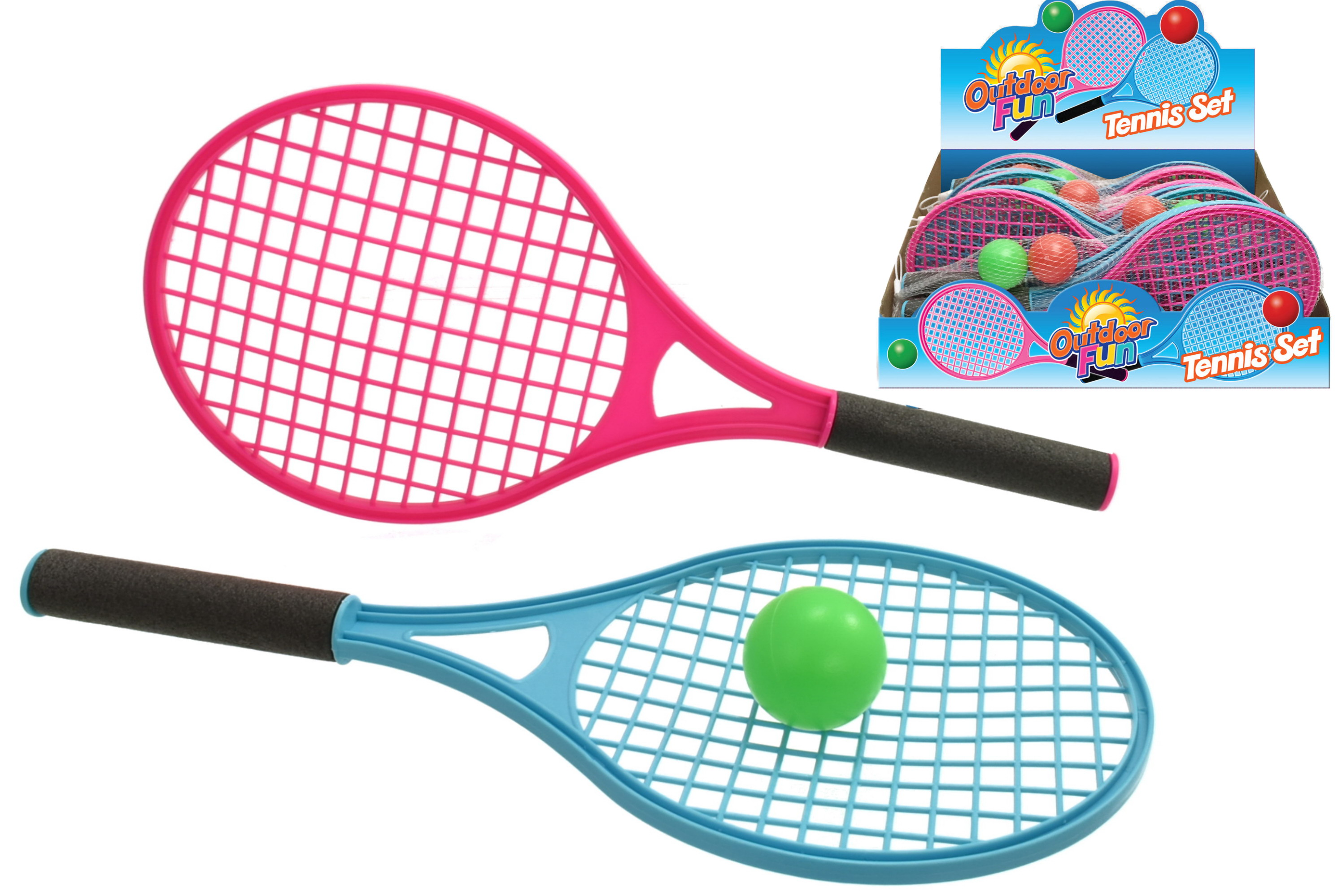 2 Player Plastic Tennis Set With 2 Balls - Netted