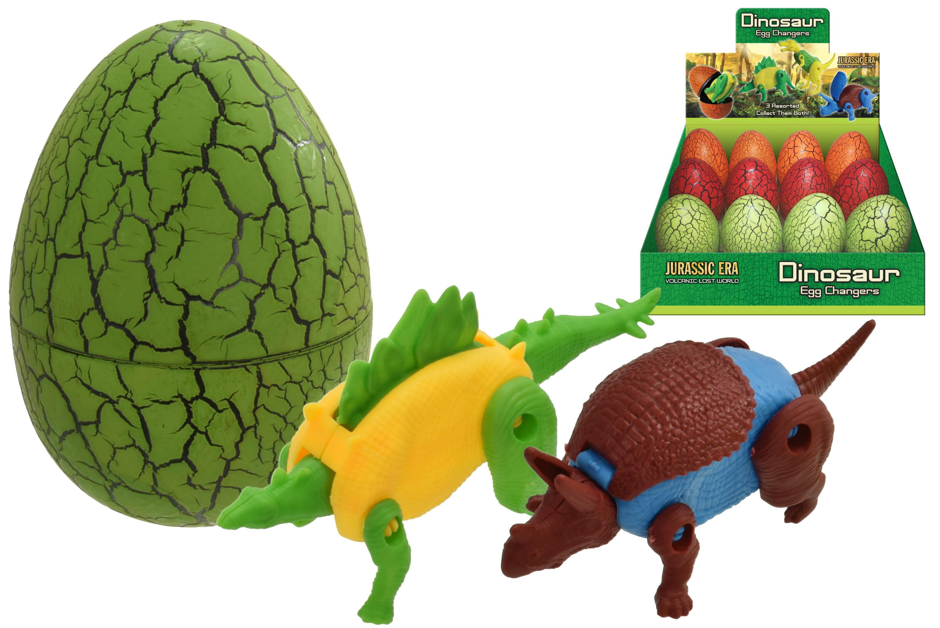 Plastic Dinosaur Egg With Dinosaur (3 Asst) In D/Box