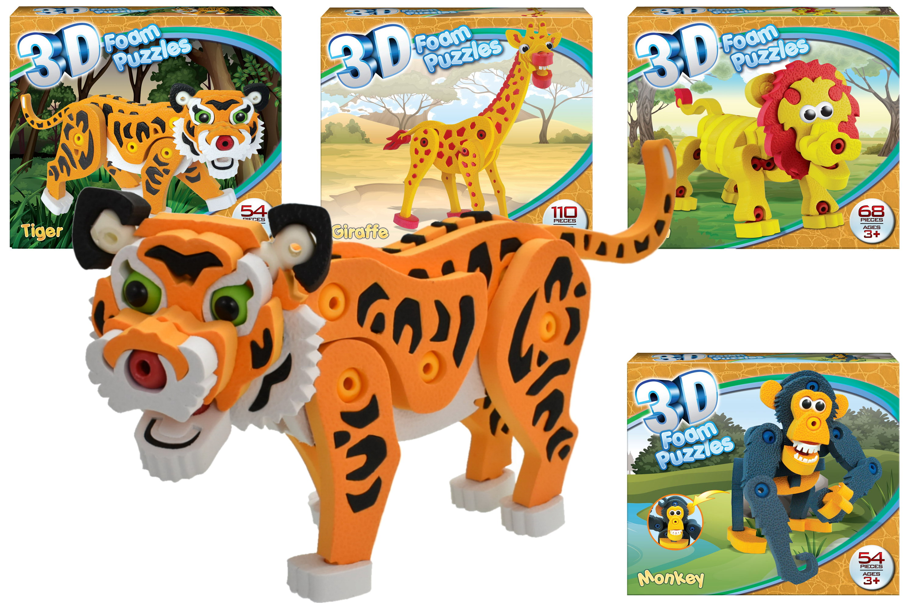 Wild Animal Foam Puzzle Sets (4 Assorted) - Colour Box