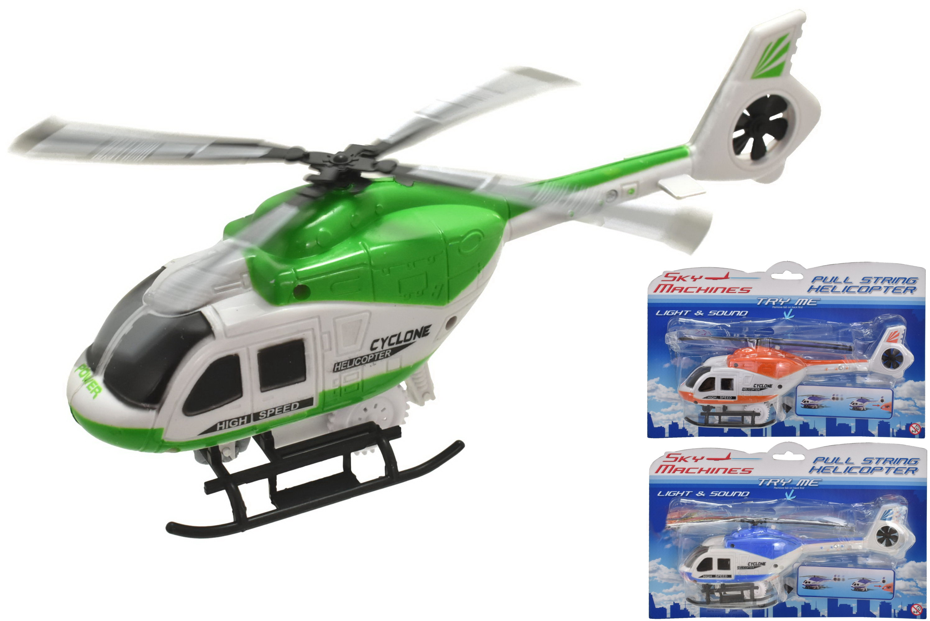 "Pull String Helicopter (2 Asst) ""Try Me"" Light & Sound"