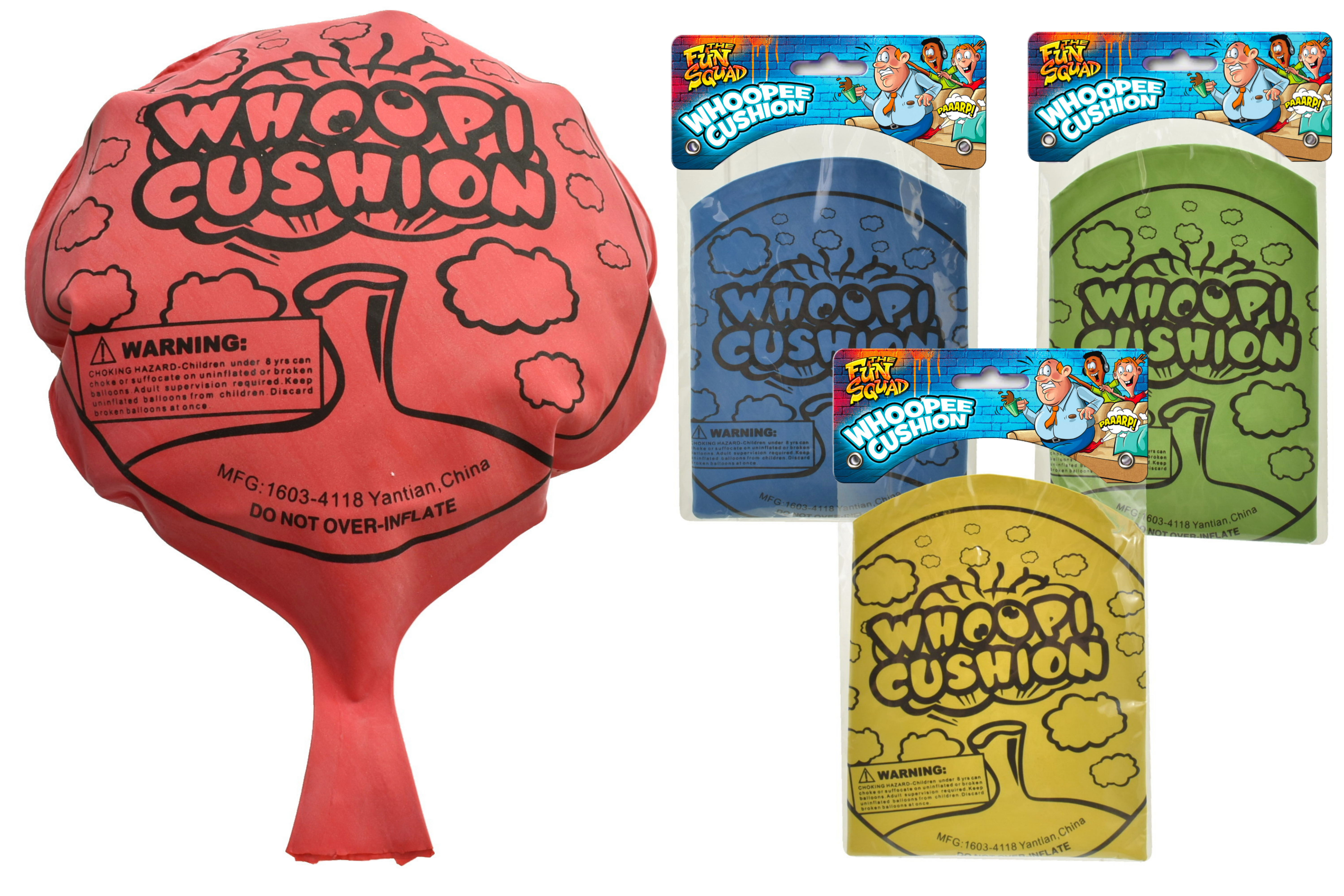 """8"""" Large Whoopee Cushion (4 Assorted) Bag/Header"""